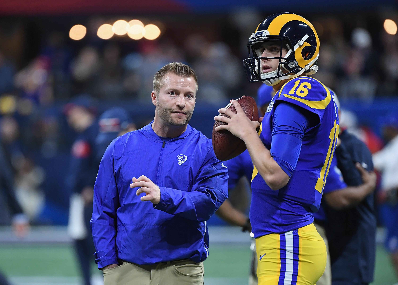 Los Angeles Rams Head Coach Sean McVay speaks to QB Jared Goff during Super Bowl LIII , Feb. 3, 2019.