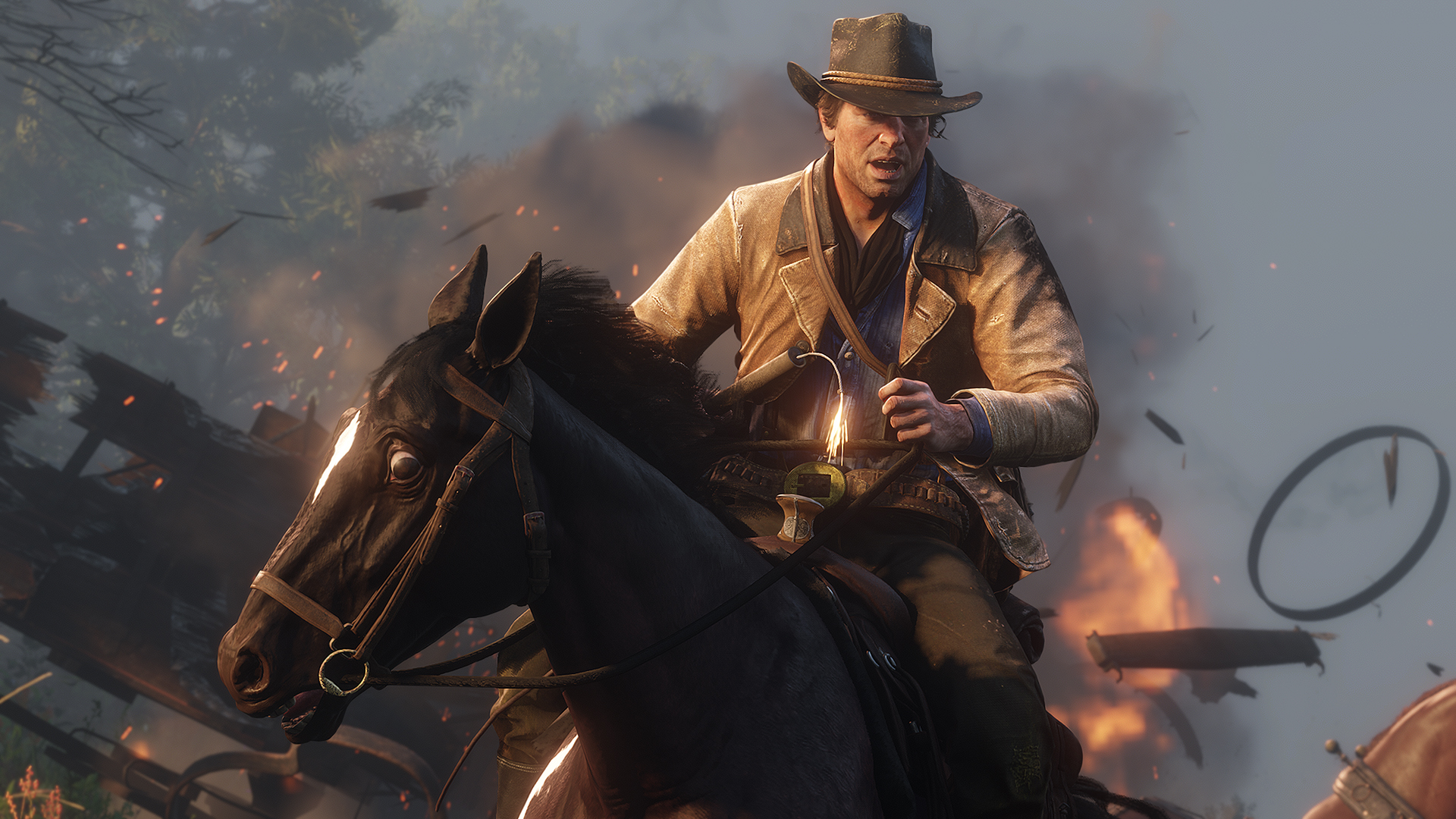 Red Dead Redemption 2 - Arthur rides on horseback in front of an explosion