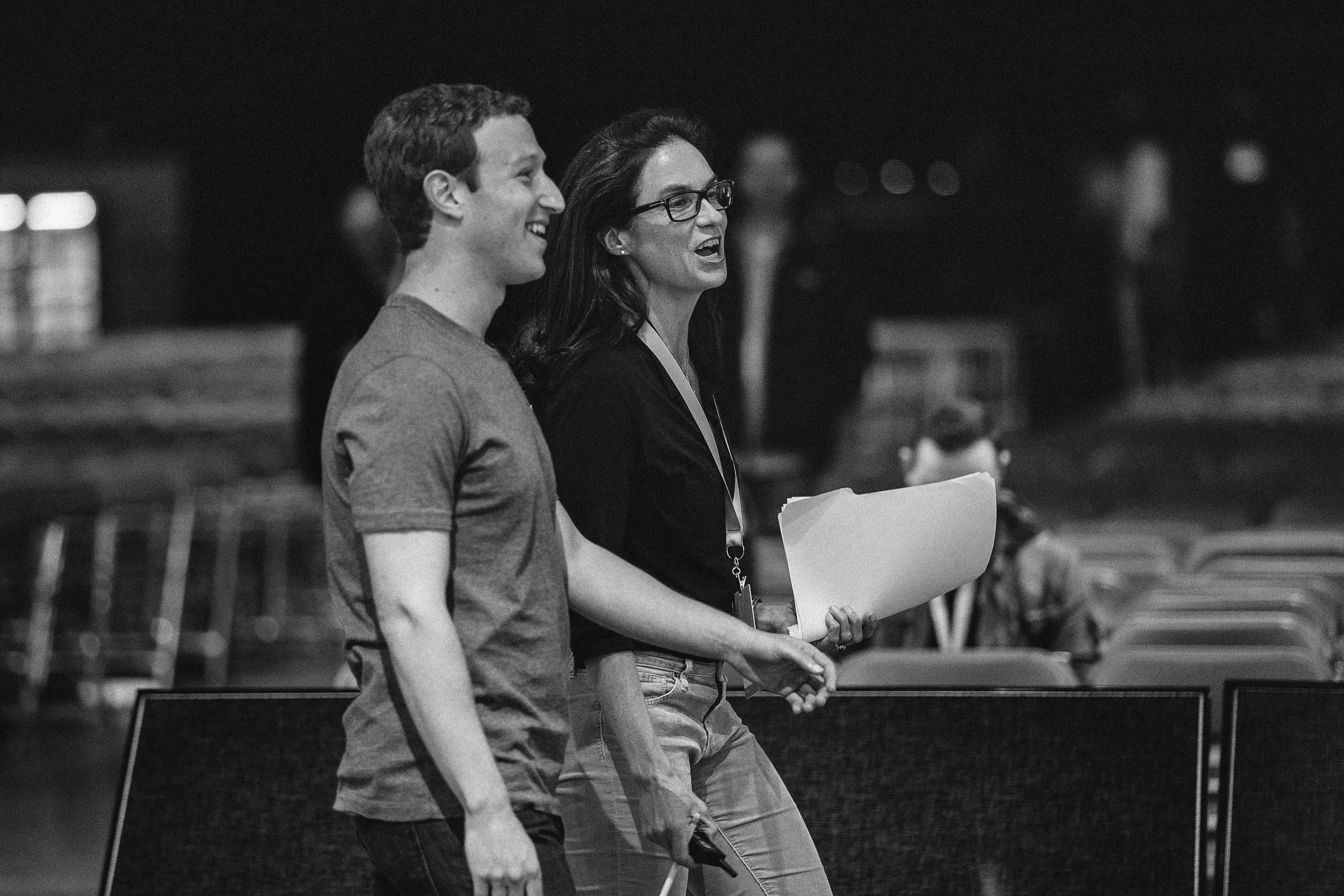 Departing Facebook PR head Caryn Marooney with her soon-to-be ex boss Mark Zuckerberg.