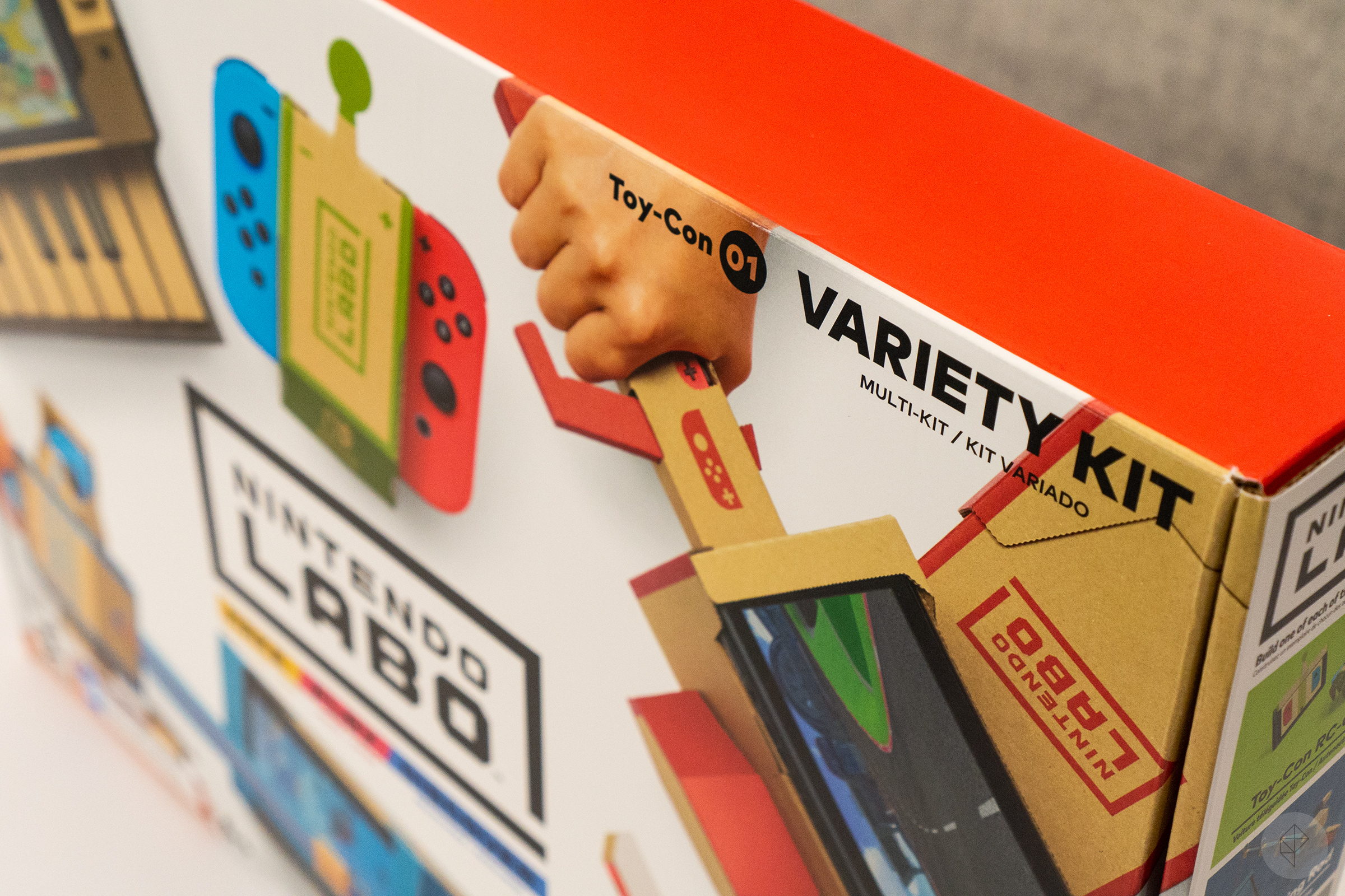 Nintendo Labo - angle photo of top right corner of box, with 'Toy-Con 01 Variety Kit' visible