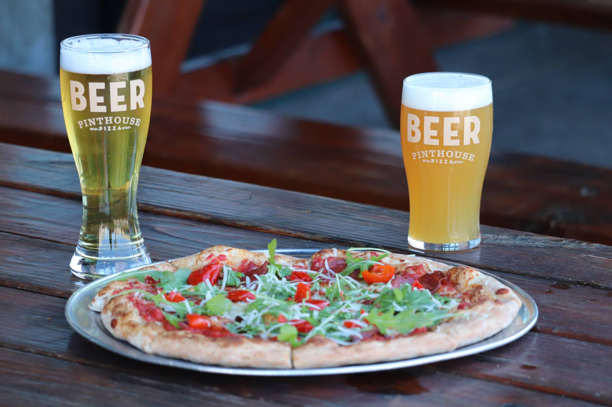 Beer and pizza from Pinthouse Pizza