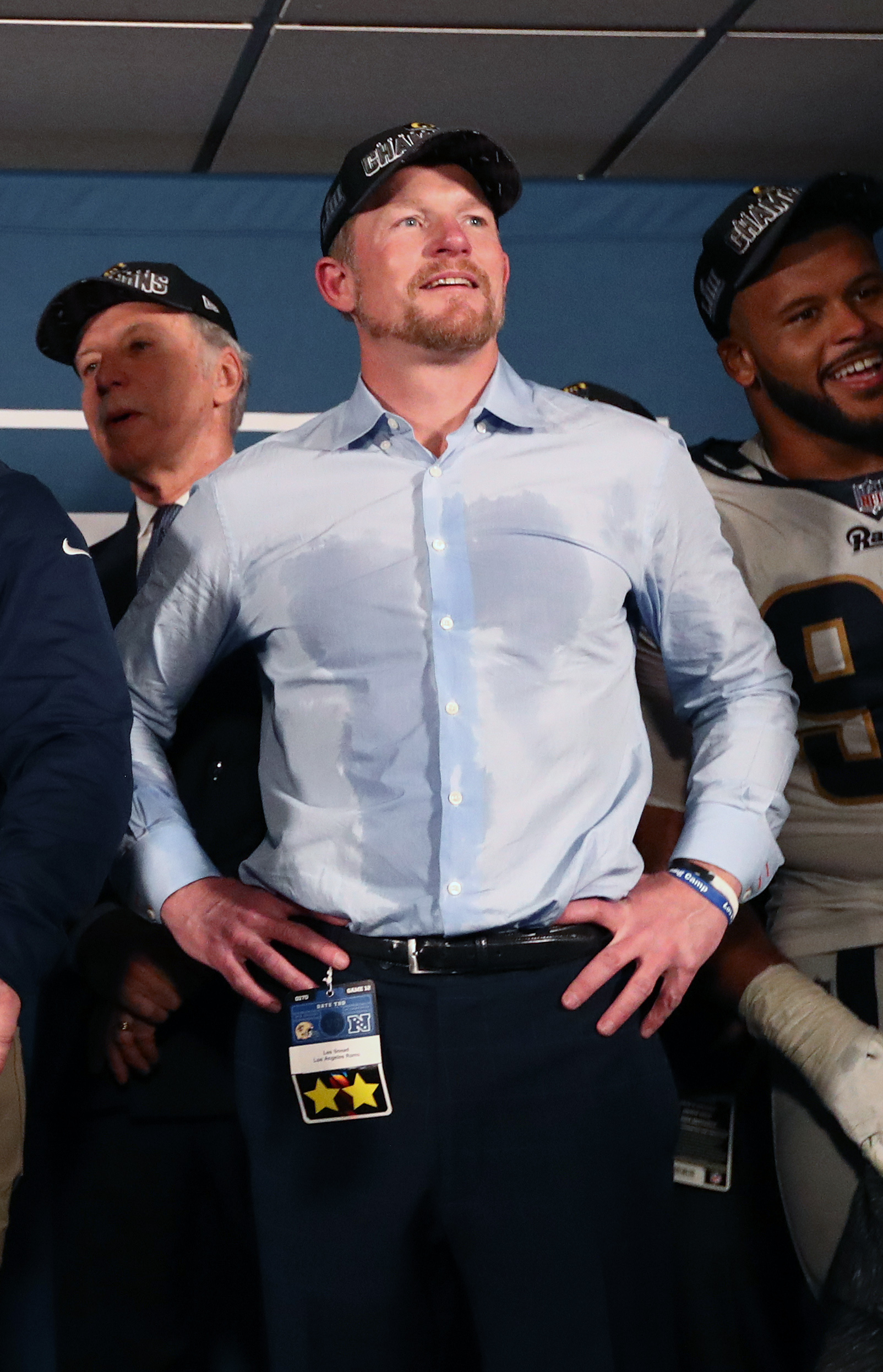 Los Angeles Rams General Manager Les Snead celebrates in the locker room after the Rams' victory in the NFC Championship game over the New Orleans Saints, Jan. 20, 2019.