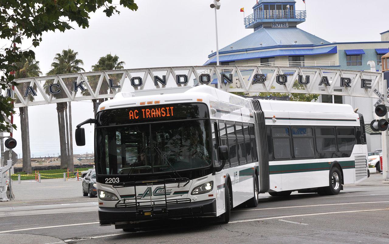 An AC Transit bus at Jack London Square.