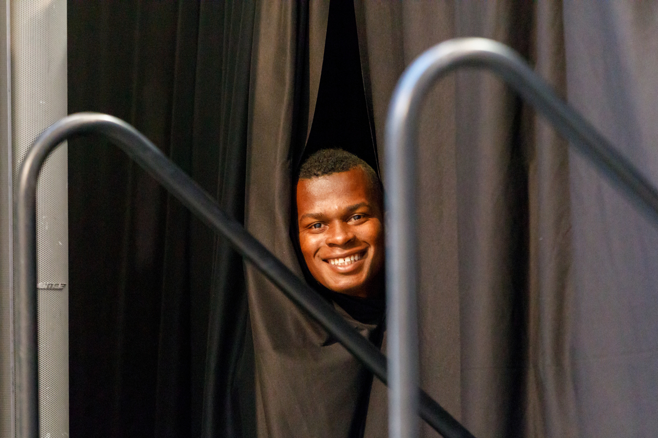 February 10, 2019 - Bloomington, Minnesota, United States - Minnesota United forward Darwin Quintero peeks out from behind the curtains at the Minnesota United 2019 kit reveal.   (Photo by Seth Steffenhagen/Steffenhagen Photography)