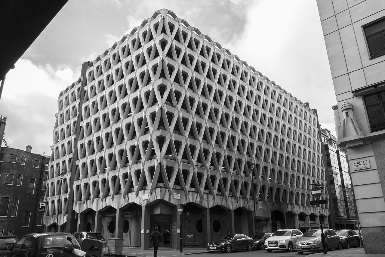 Black and white photo of Brutalist car park