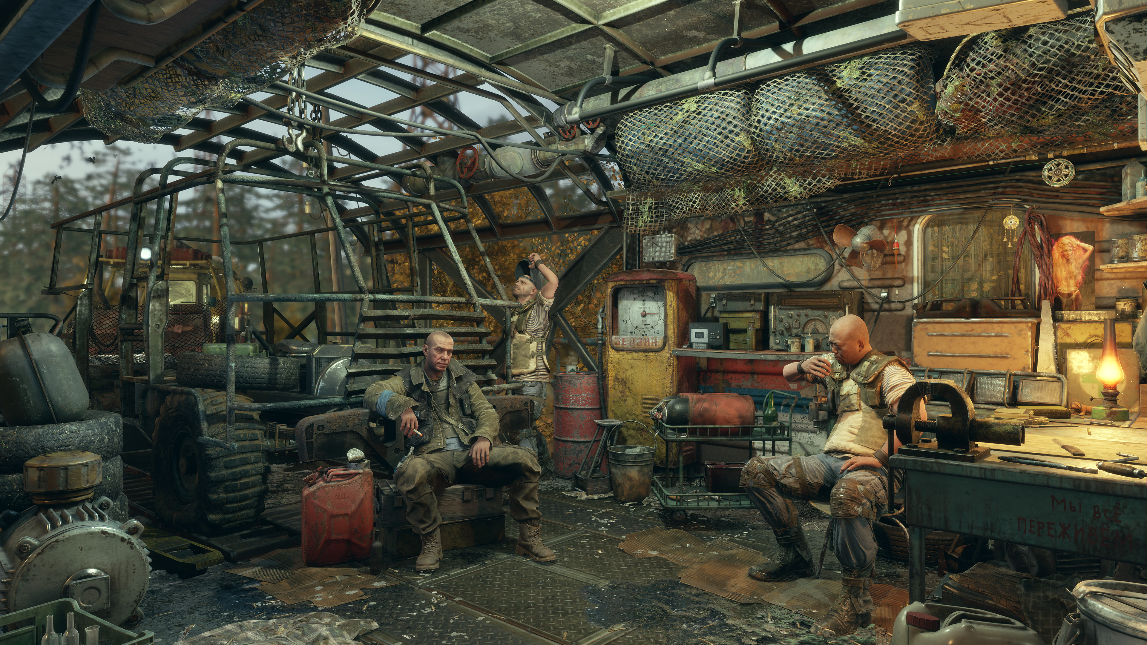 Allies recuperate after a battle in Metro Exodus.