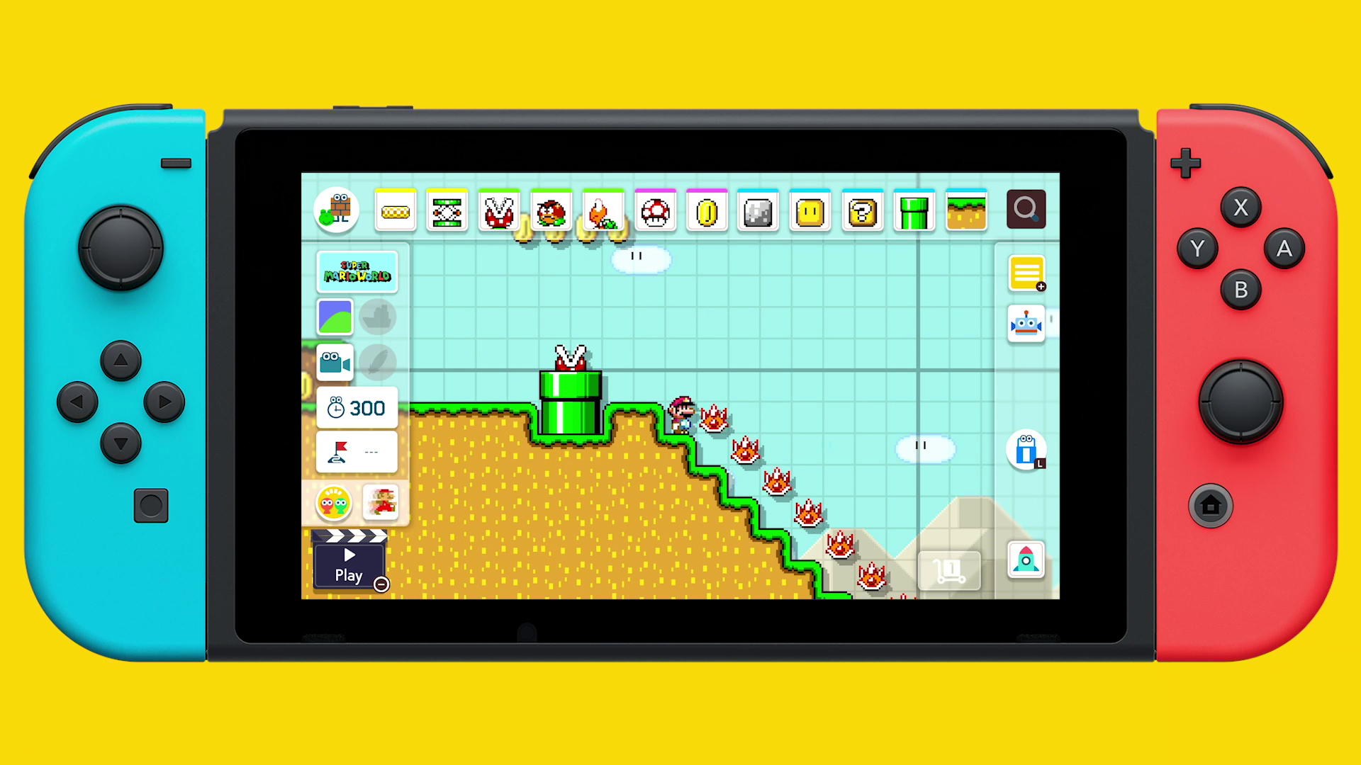 Super Mario Maker 2 - creating on a Switch