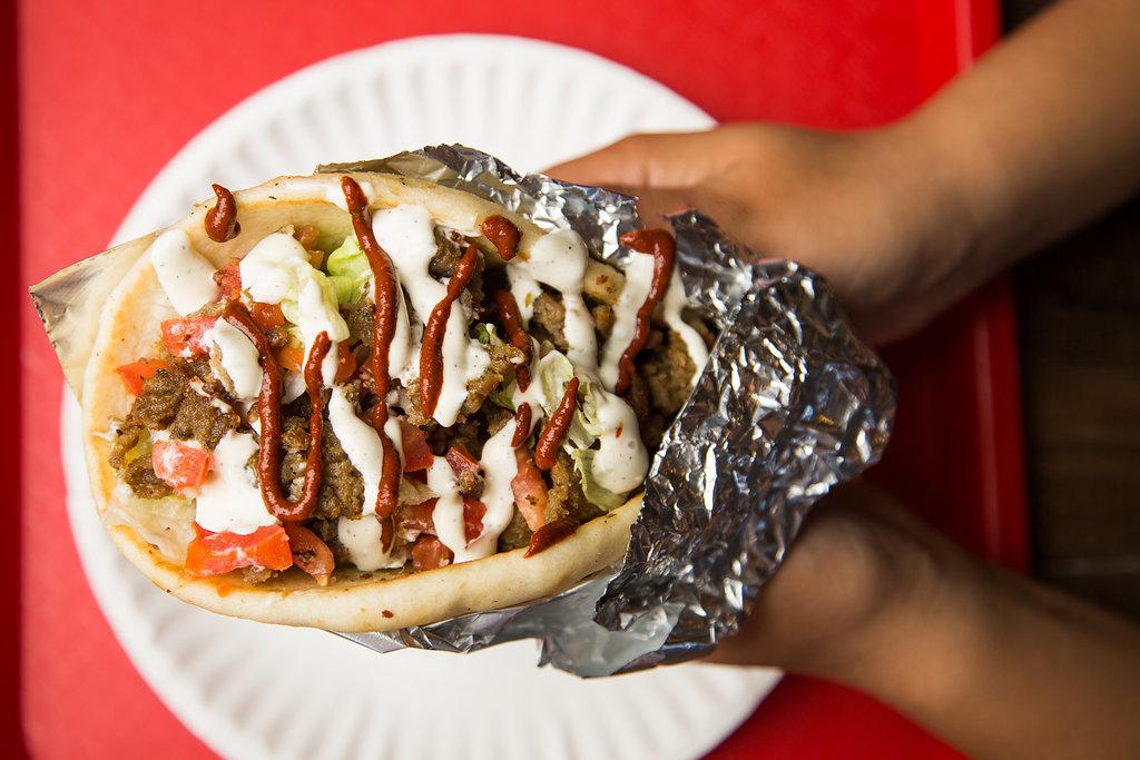 A gyro sandwich at The Halal Guys