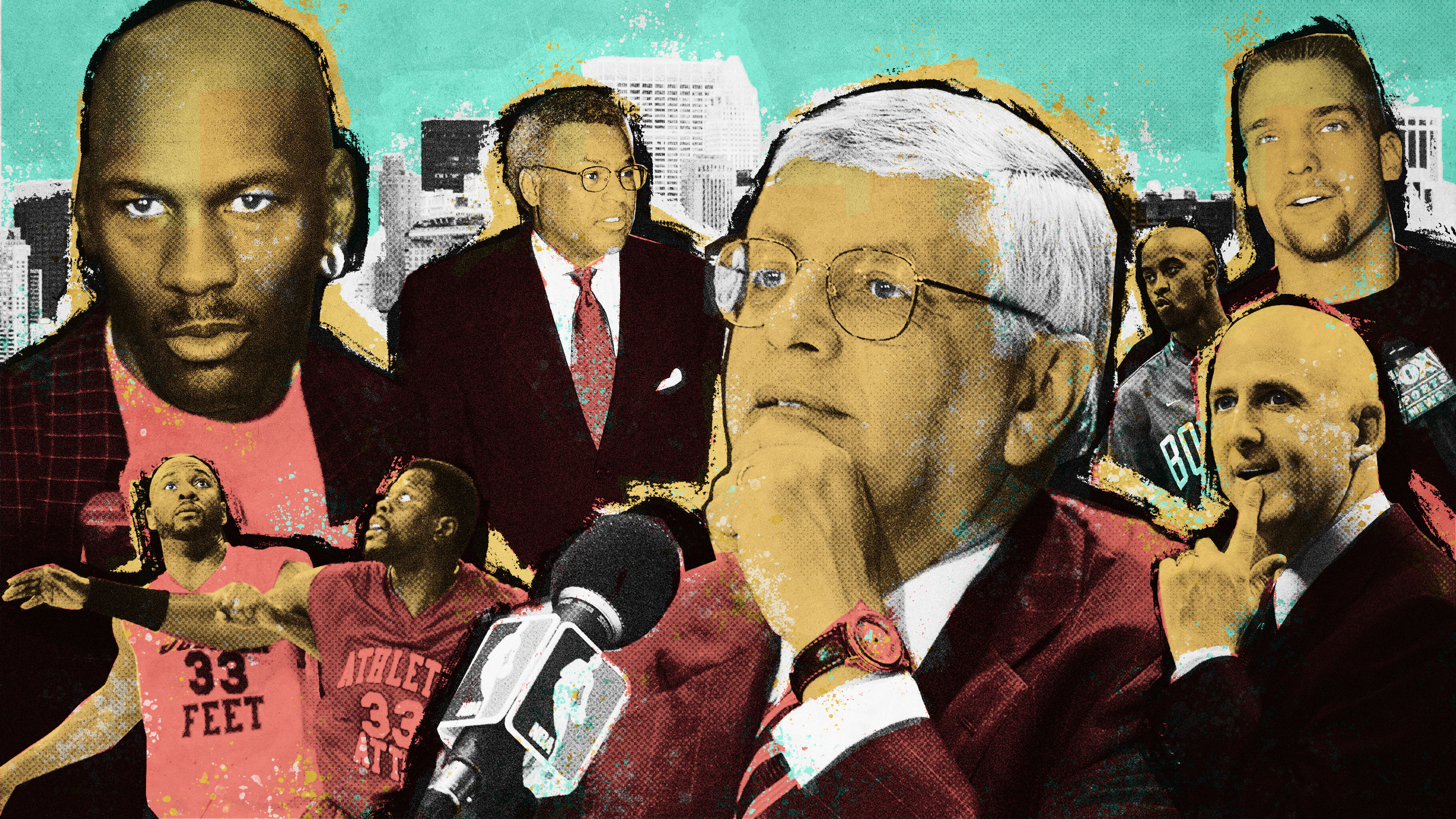 A photo illustration featuring images of figures from the 1998-99 NBA lockout, including former commissioner David Stern, Michael Jordan, and Billy Hunter