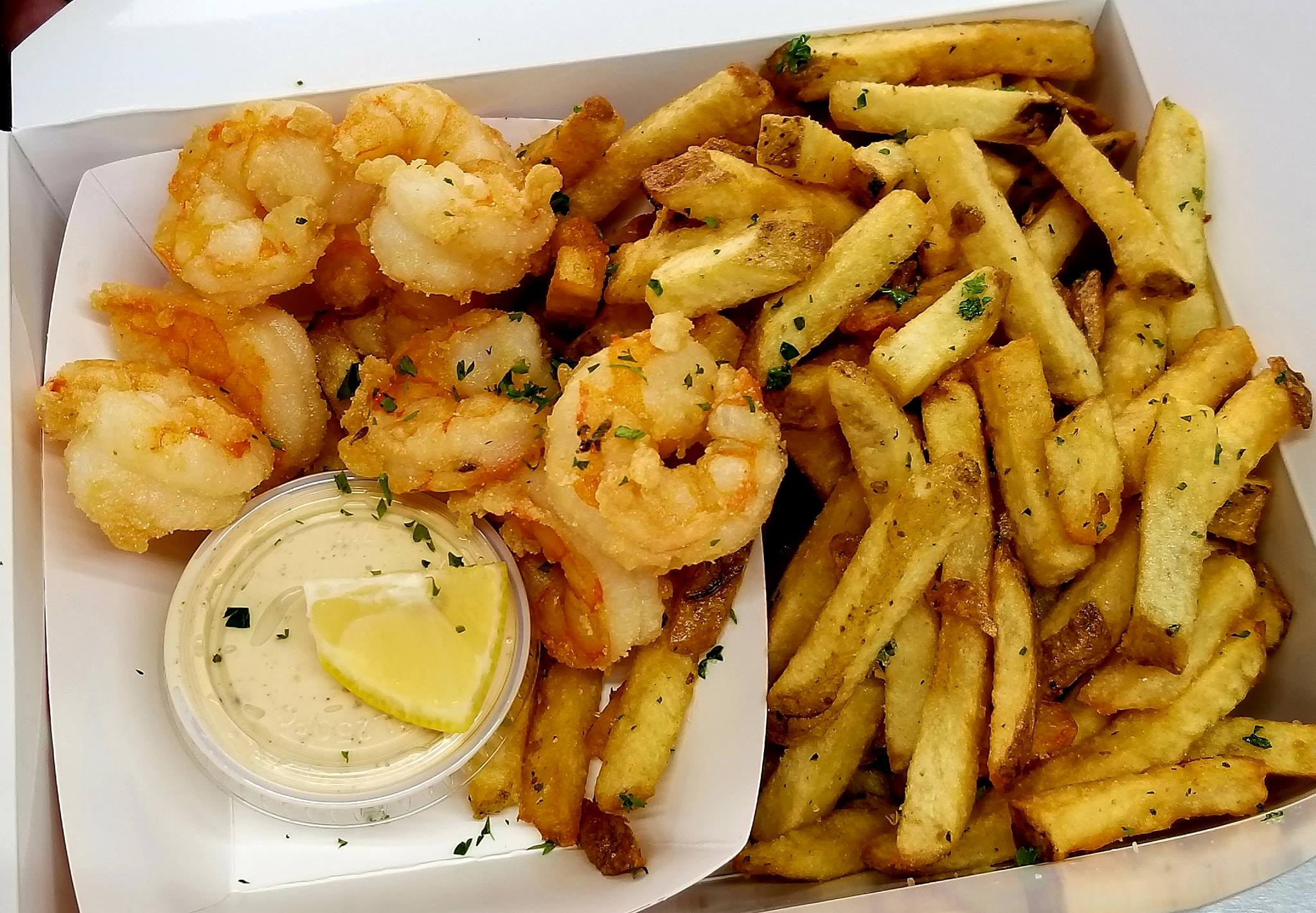Shrimp and fries from Beaux Seafood