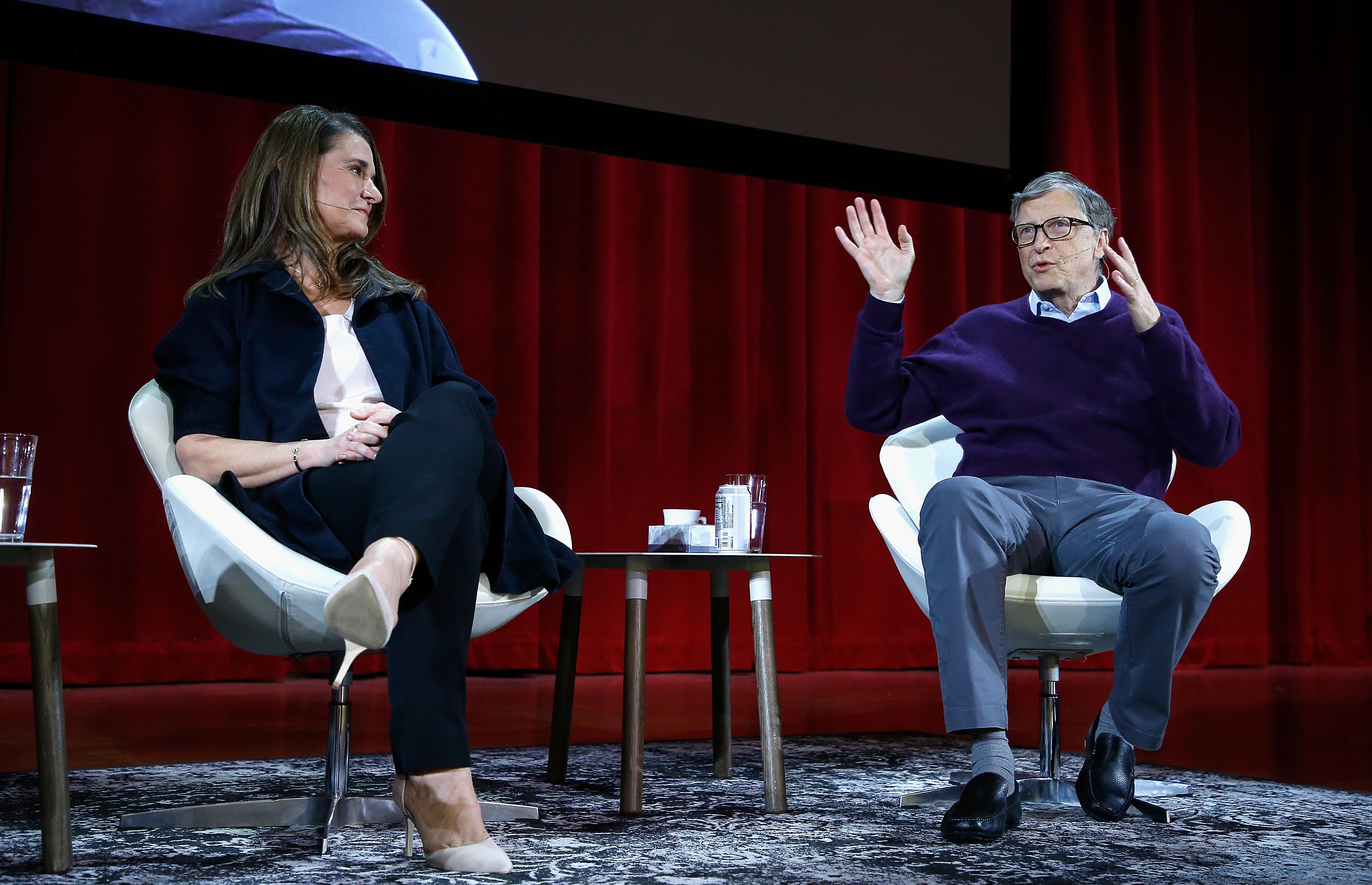 Melinda Gates and Bill Gates speak at Hunter College