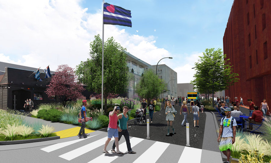 A rendering of a new park with a Leather Pride flag flying over it.