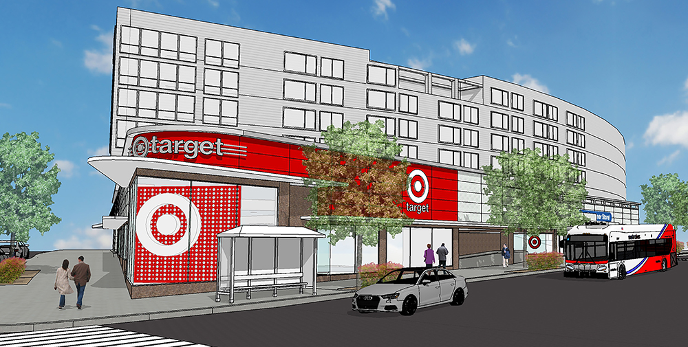 A rendering of a planned Target store in a city. The Target is located on the ground level of an apartment building.
