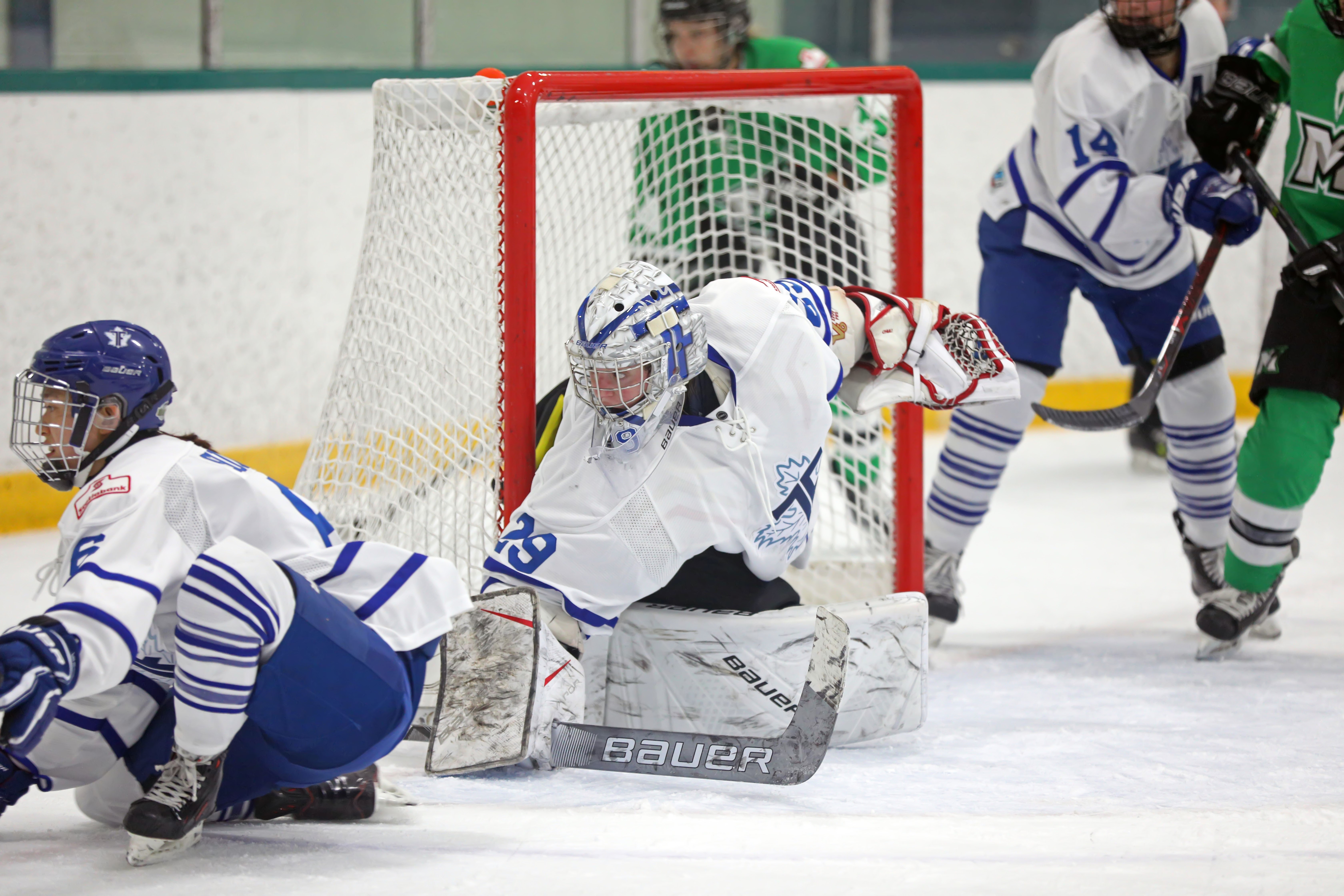Elaine Chuli (29) of the Toronto Furies stays low in her net with Sena SuzukI (6) defending.