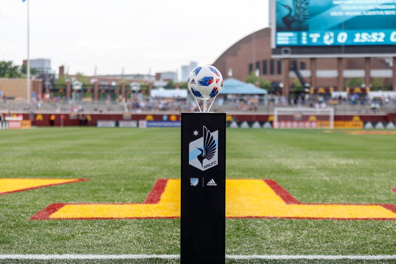 July 11, 2018 - Minneapolis, Minnesota, United States - The match ball is set on display for the Minnesota United vs Deportivo Saprissa match at TCF Bank Stadium.   (Photo by Seth Steffenhagen/Steffenhagen Photography)