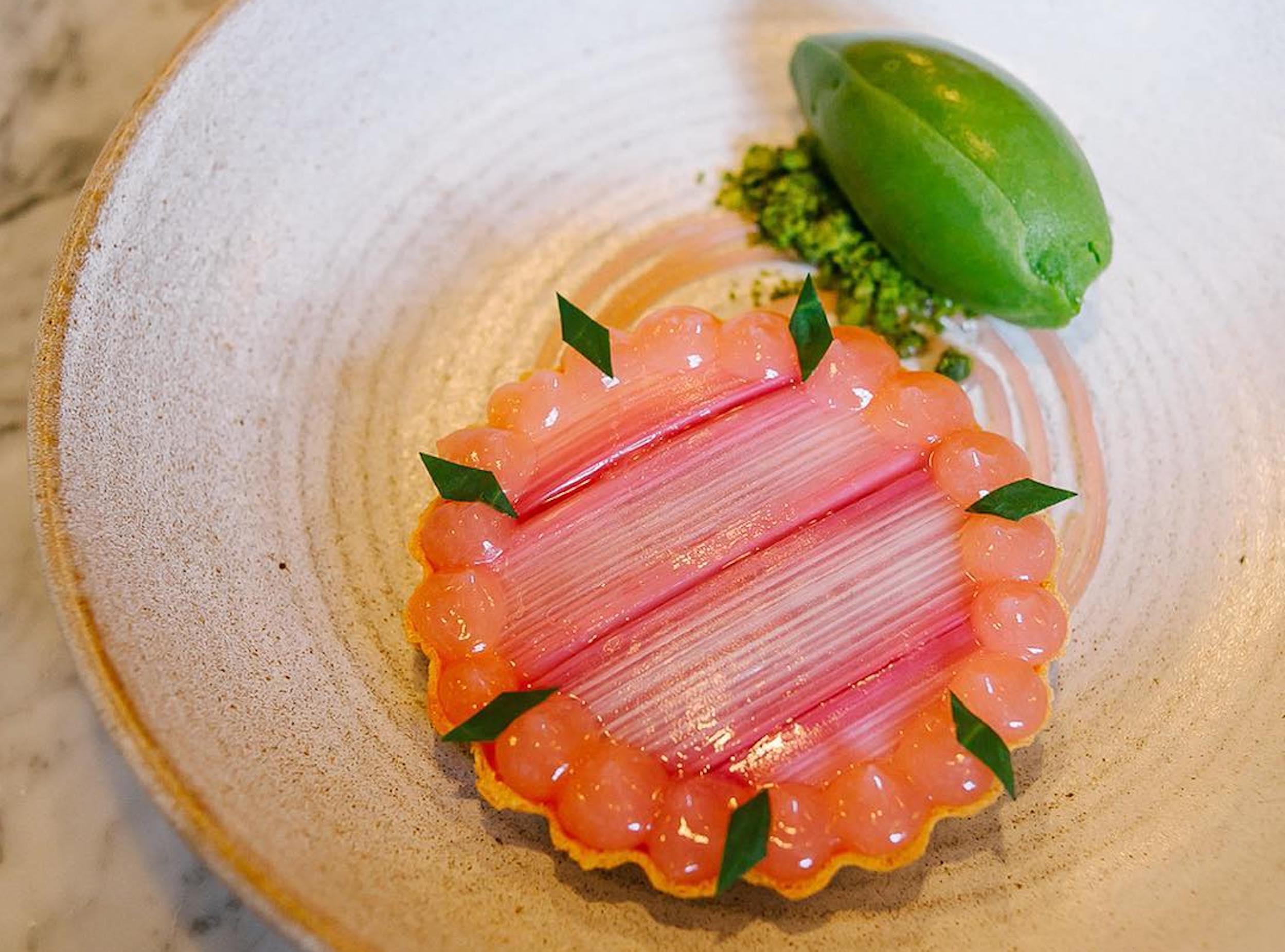 London restaurants love seasonal fruit rhubarb right now