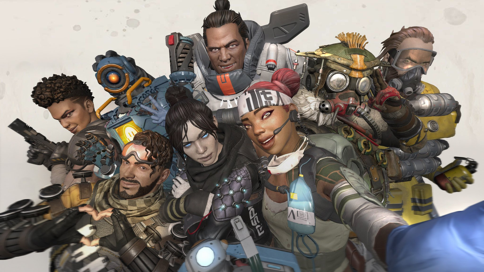 The characters of Apex Legends taking a selfie
