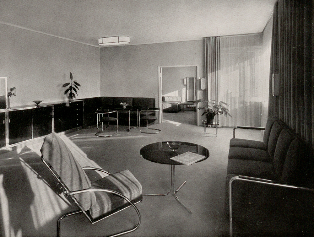 Black and white photo of steel tube furniture