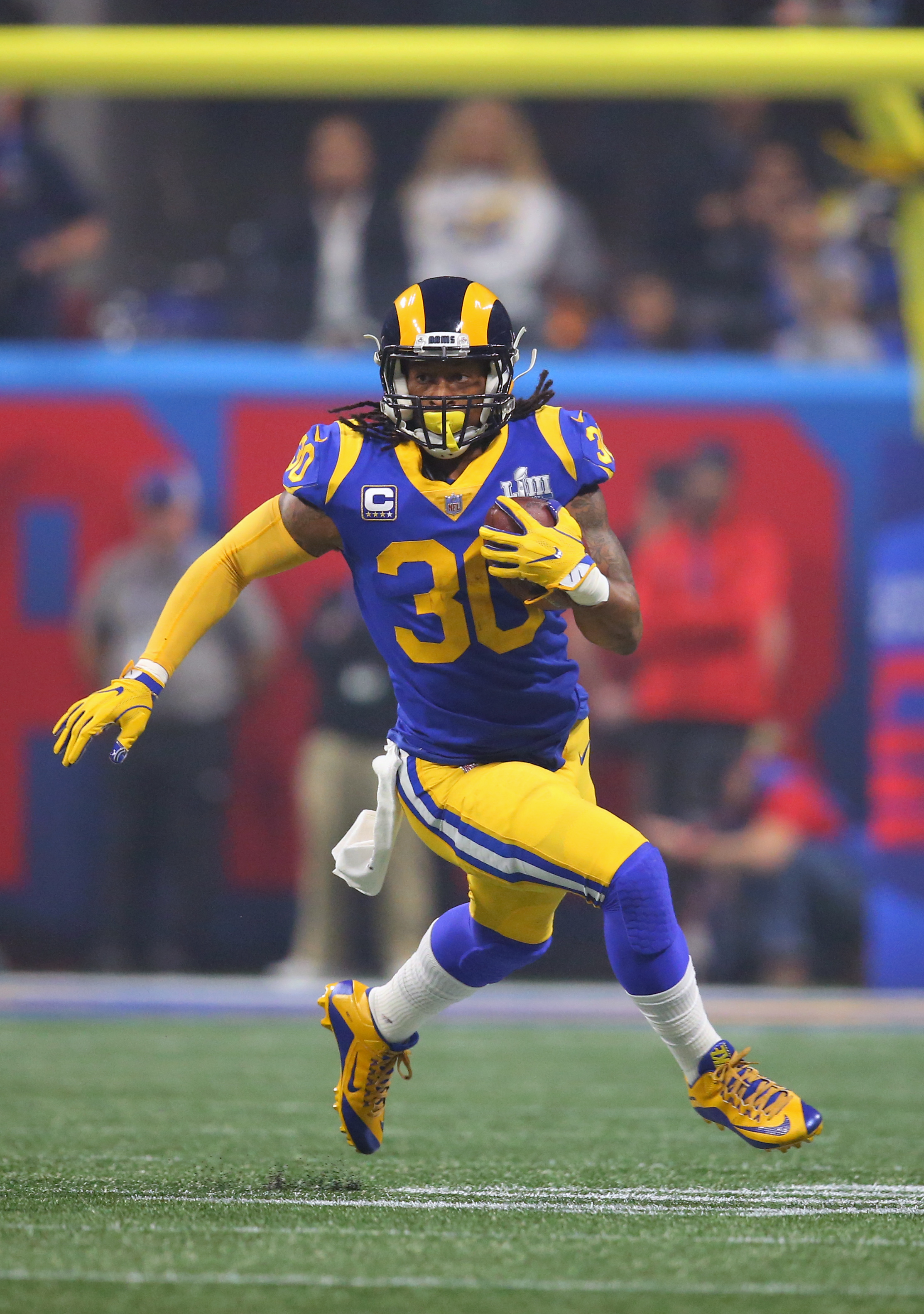 Los Angeles Rams RB Todd Gurley runs against the New England Patriots in Super Bowl LIII, Feb. 3, 2019.