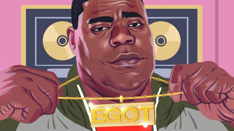 """Illustration of Tracy Morgan as Tracy Jordan holding up a gold """"EGOT"""" necklace around his neck"""