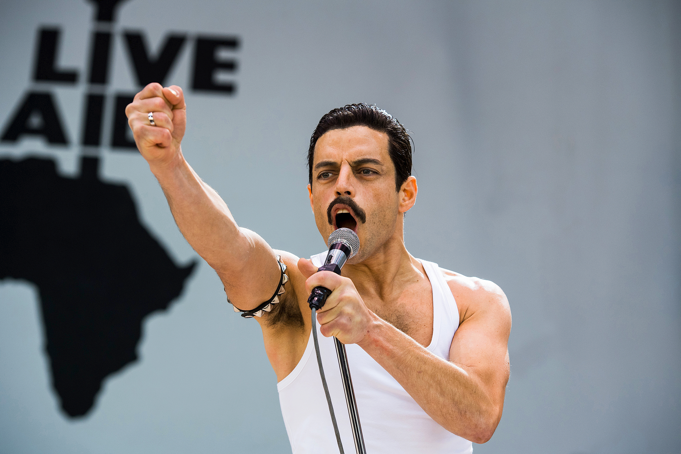 Rami Malek plays Freddie Mercury in Bohemian Rhapsody, which is up for Best Picture at the Oscars.