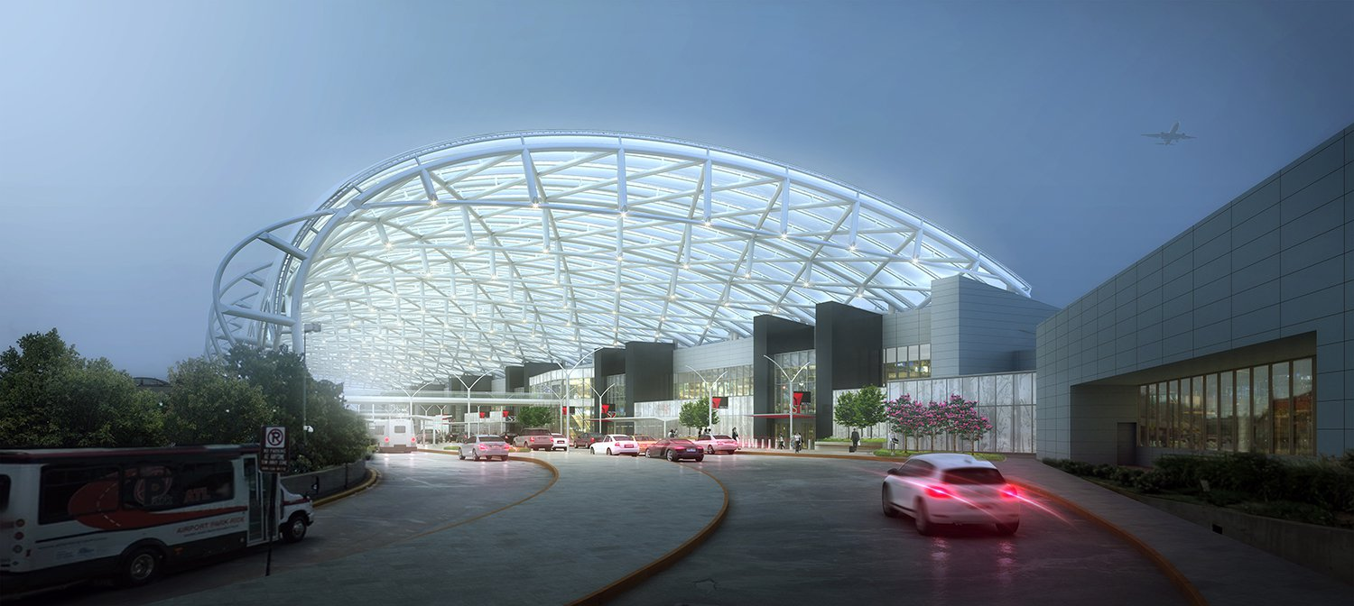 A four-story arching metal tube system above the entry drive for the airport.