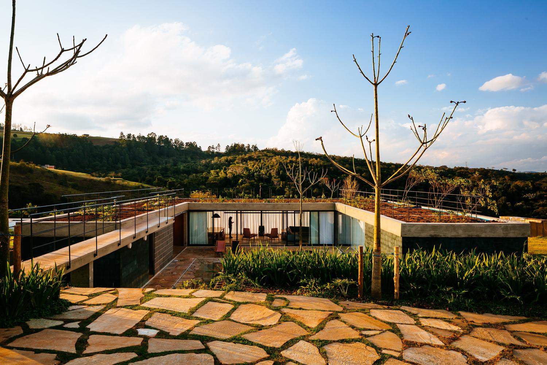 modern home built into hillside