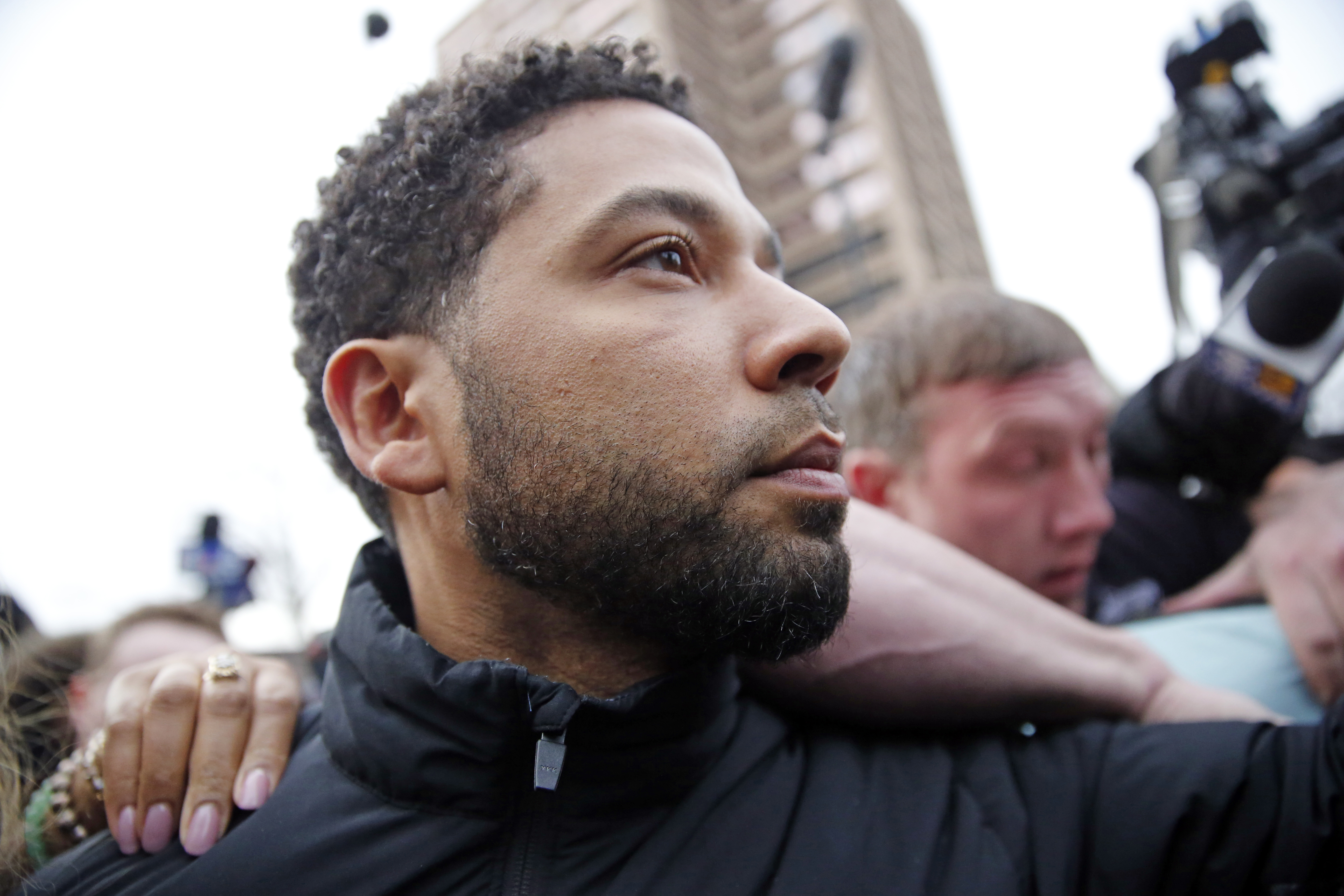 Empire actor Jussie Smollett leaves Cook County jail after posting bond on February 21, 2019, in Chicago, Illinois.