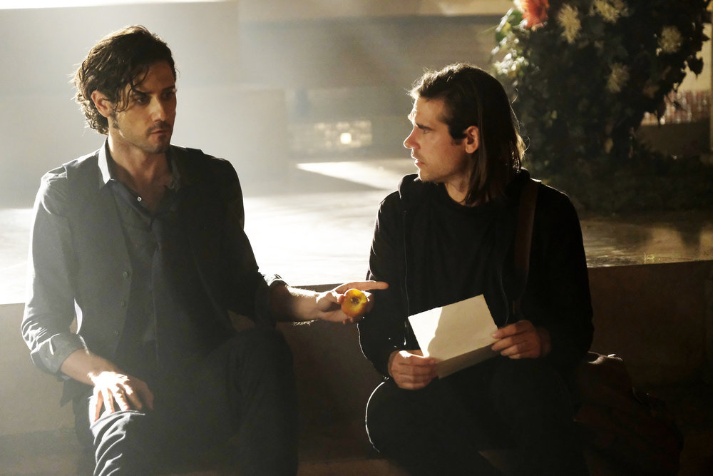 Hale Appleman as Eliot and Jason Ralph as Quentin in The Magicians.