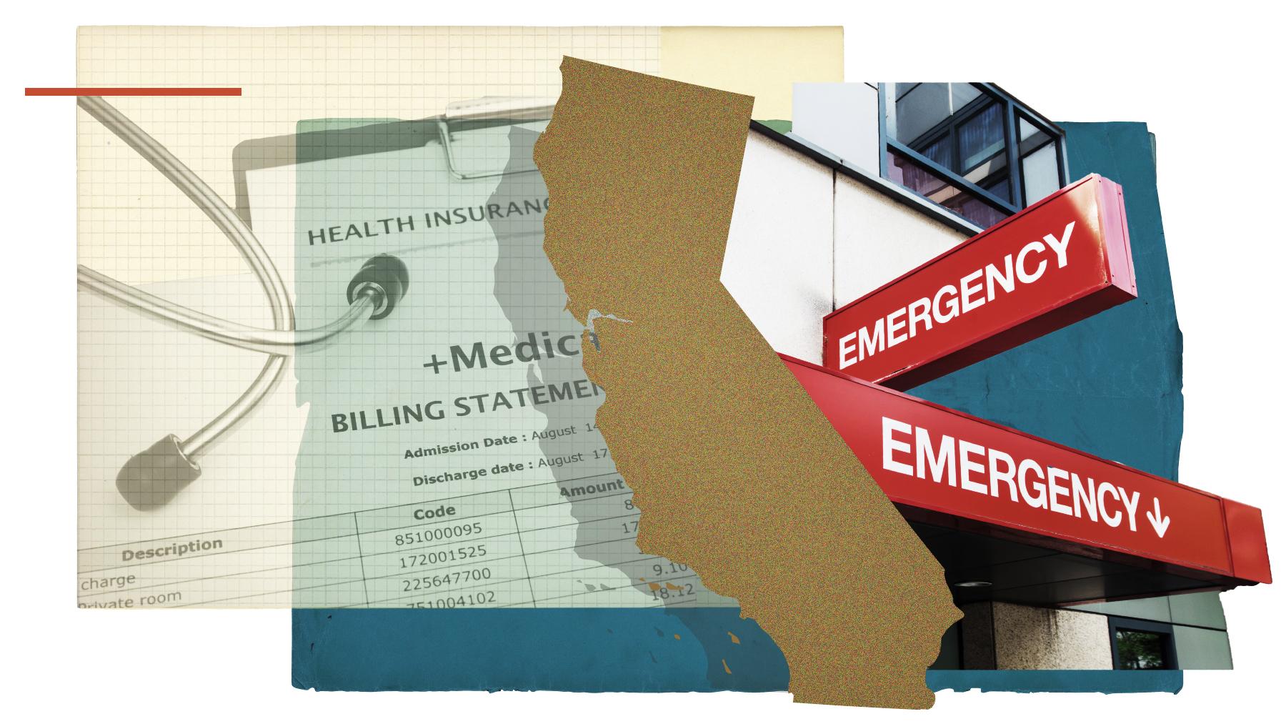 Bills and an emergency room hospital entrance.