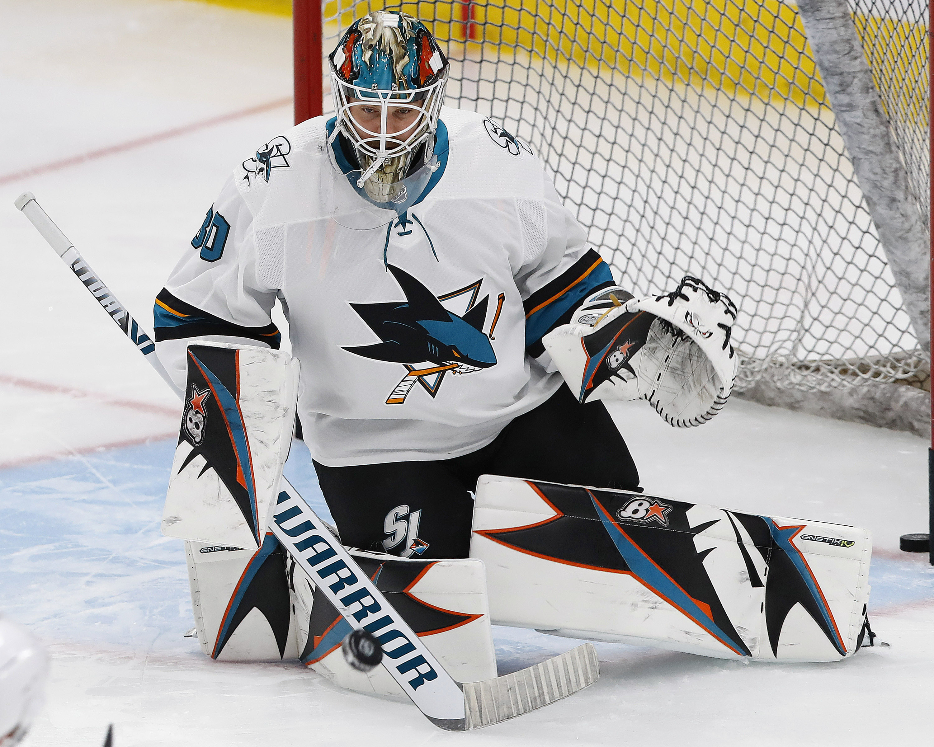 Feb 9, 2019; Edmonton, Alberta, CAN; San Jose Sharks goaltender Aaron Dell (30) makes a save during warmup against the Edmonton Oilers at Rogers Place.