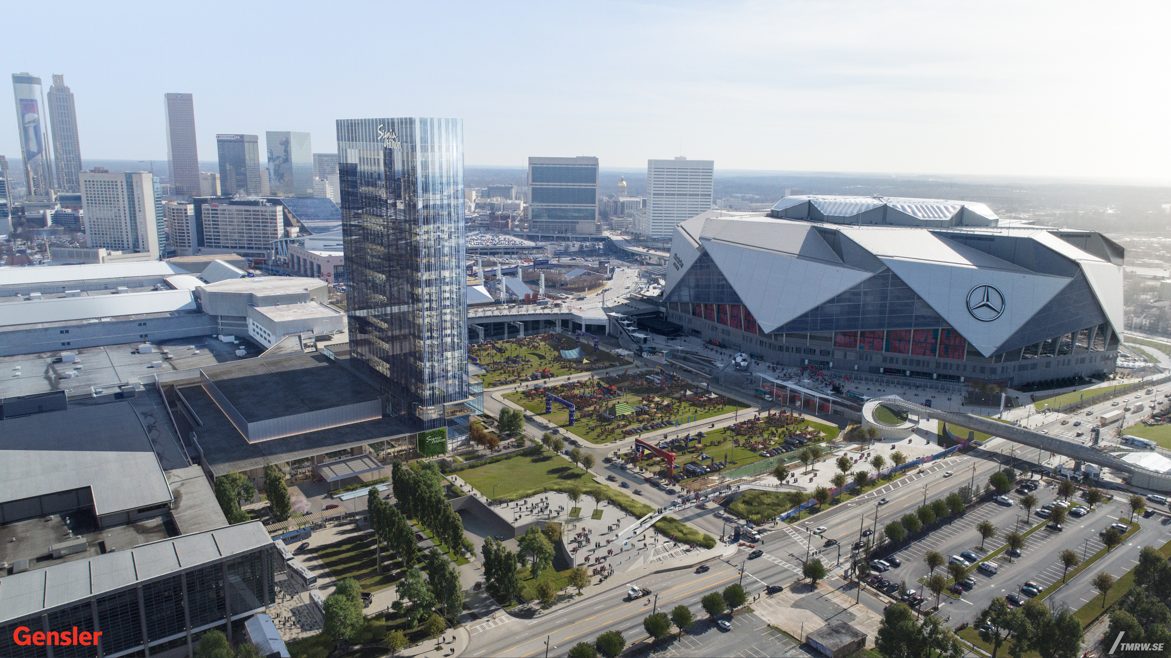A wide-angle rendering shows how the glassy hotel would lord over the massive Mercedes-Benz Stadium.