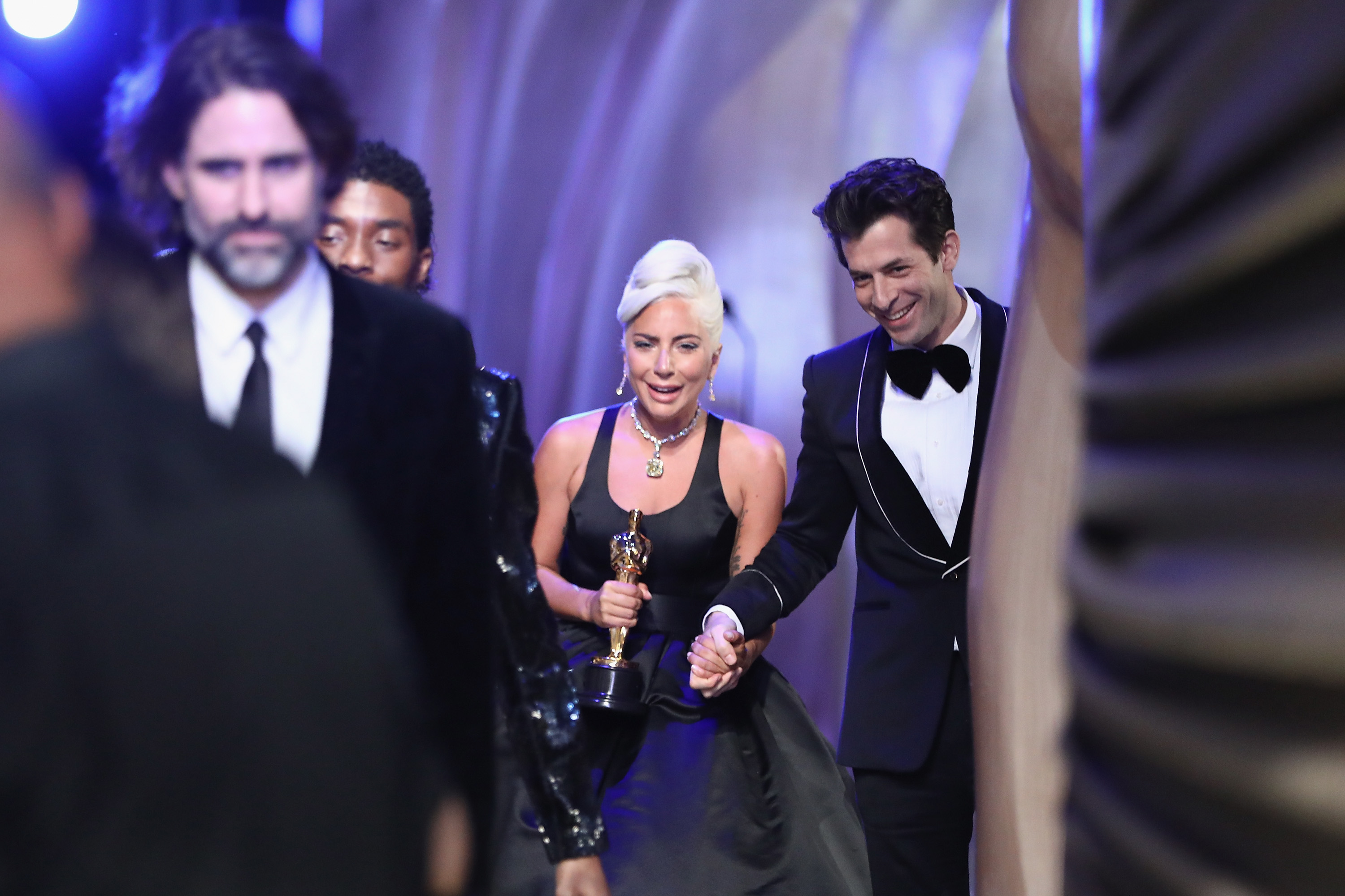 Lady Gaga and Mark Ronson after winning Best Original Song at the Oscars.