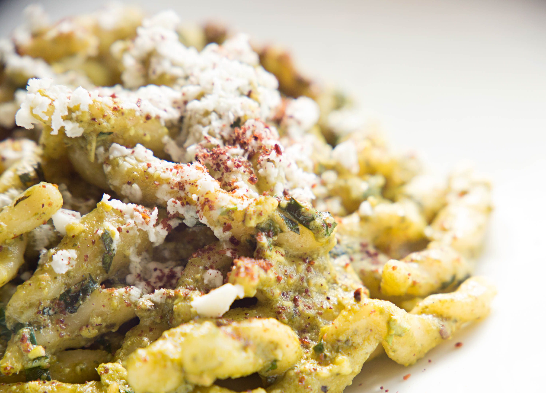 Trofie al pesto di pistacchio with feta and mint at Fox & the Knife