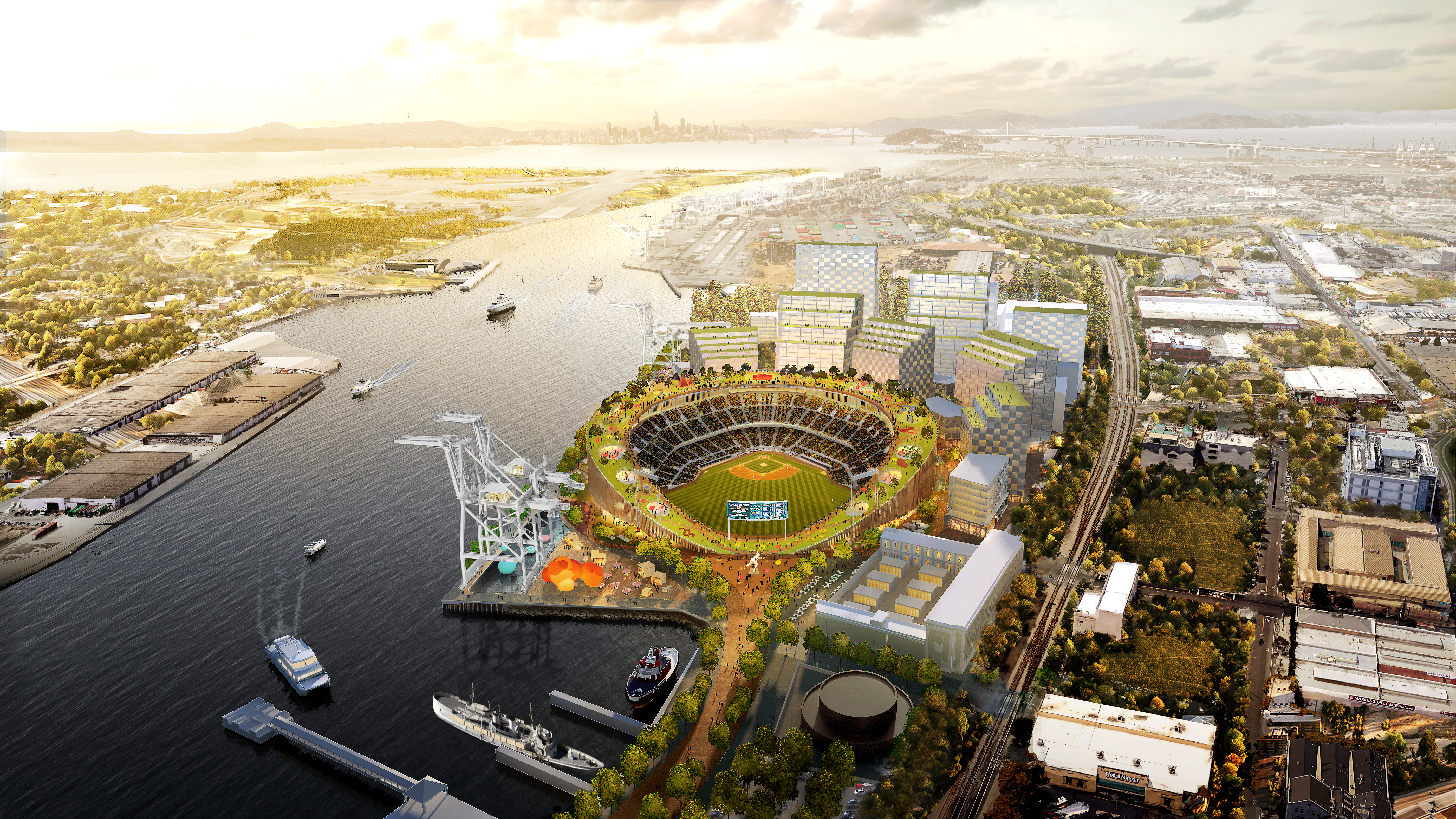 Artistic rendering of a modern, open-roof ballpark surrounded by trees, buildings, and a harbor.