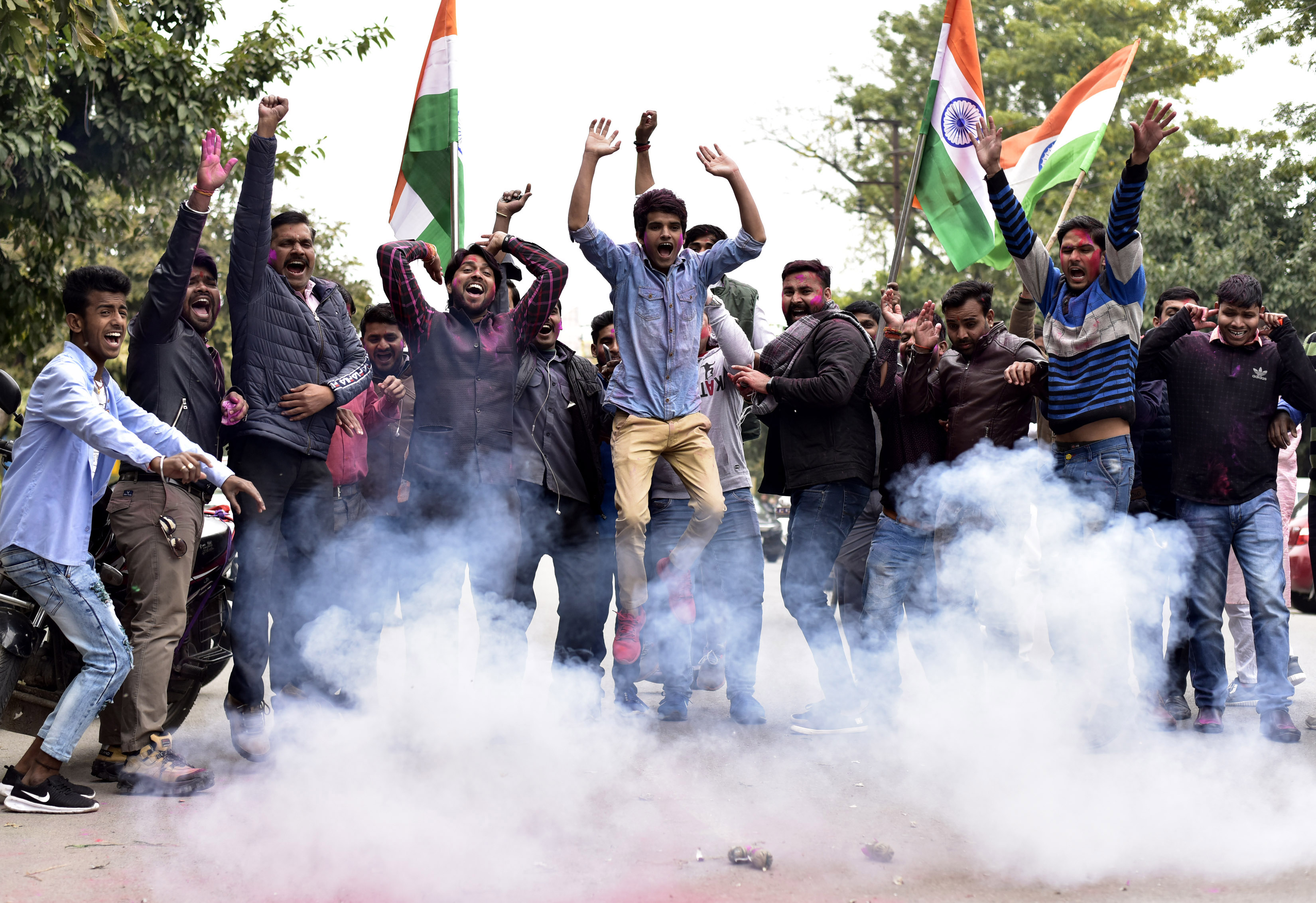 Members of an Indian political party in Noida, India, celebrating after the airstrike on Balakot on Tuesday, February 26, 2019.