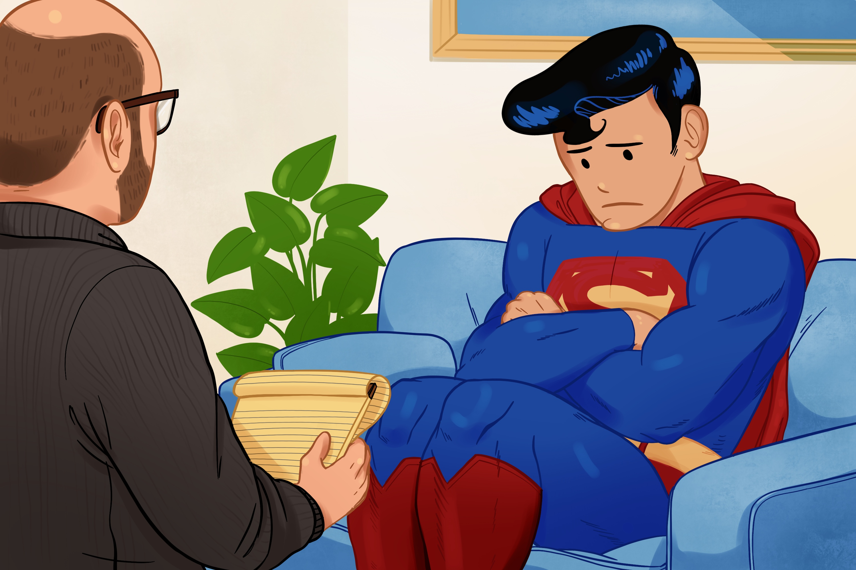 Illustration of Superman sitting on a couch looking upset and talking to a therapist