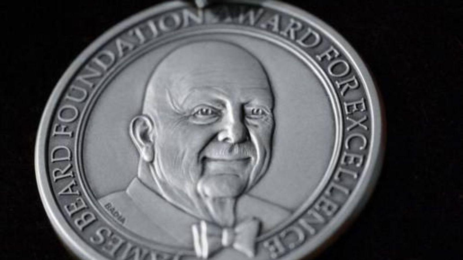 A close up of the James Beard Award