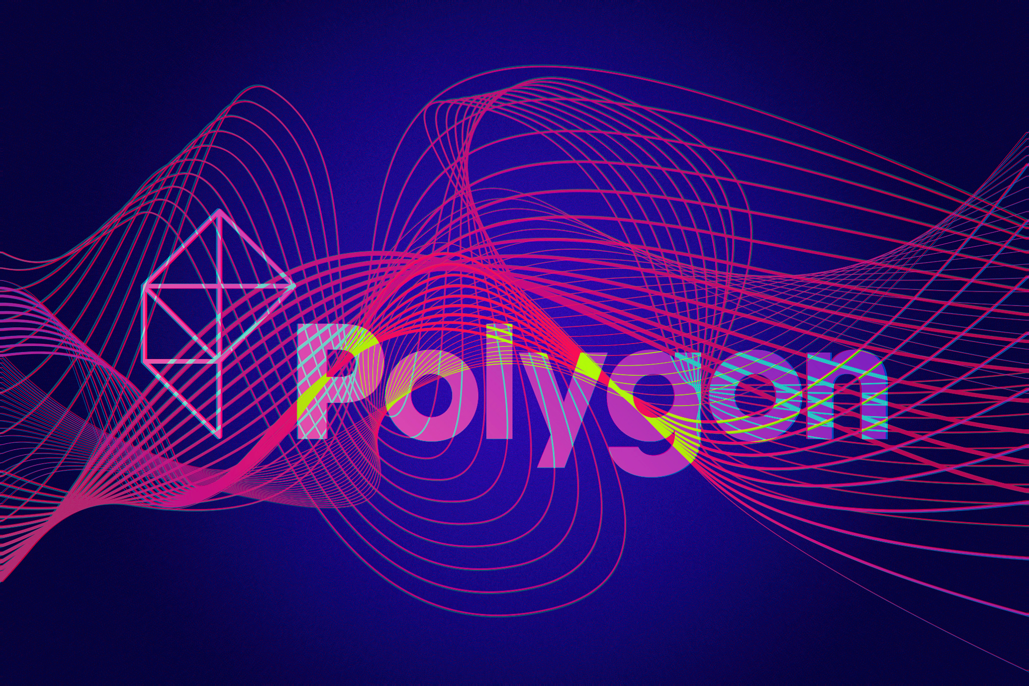 Pink Polygon logo surrounded my swirly lines