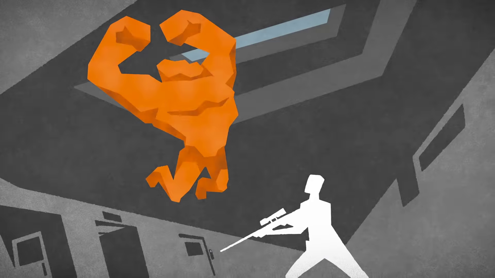 Ape Out - ape leaping, about to attack a man holding a sniper rifle