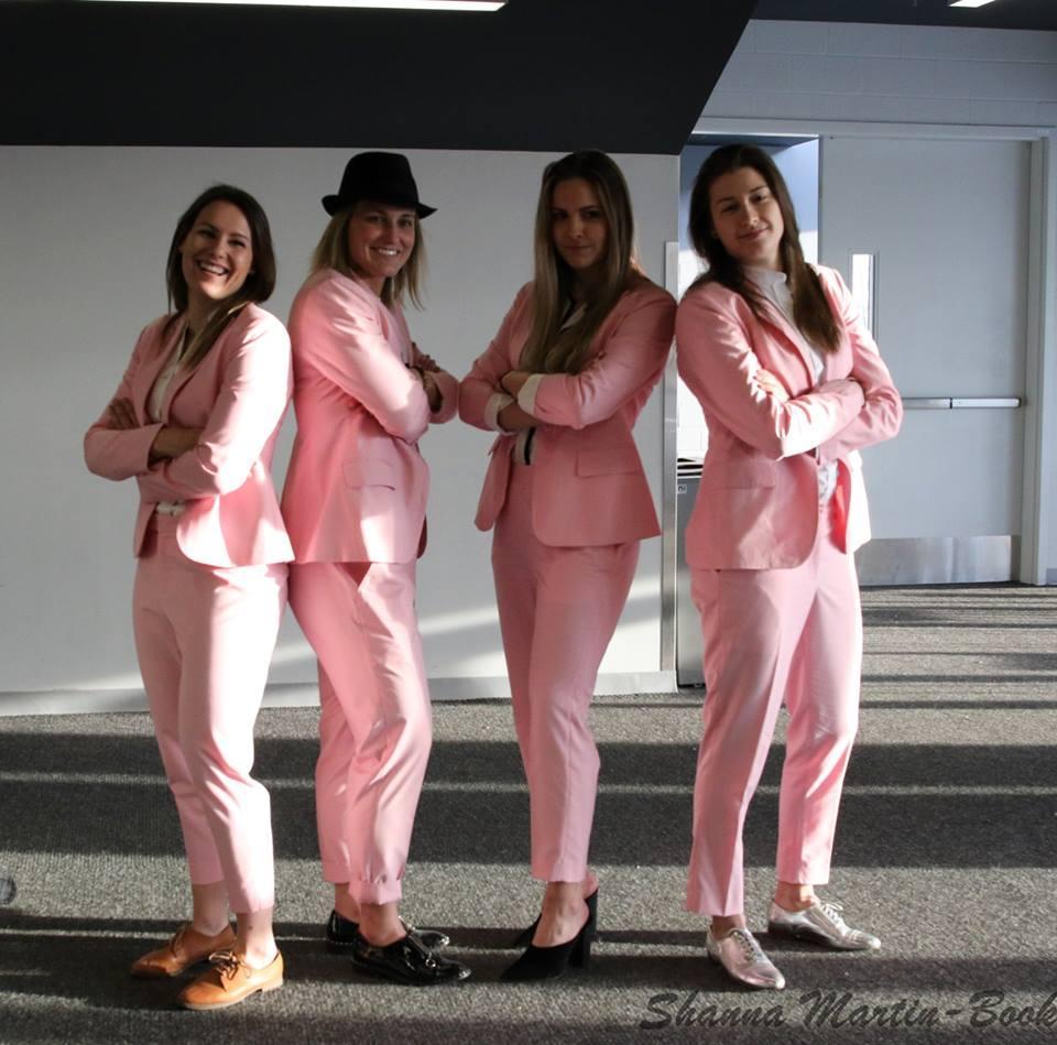 Les Canadiennes de Montréal all in pink. L-R: Melanie Desrochers, Marie-Philip Poulin, Emerance Maschmeyer, Geneviève Lacasse.