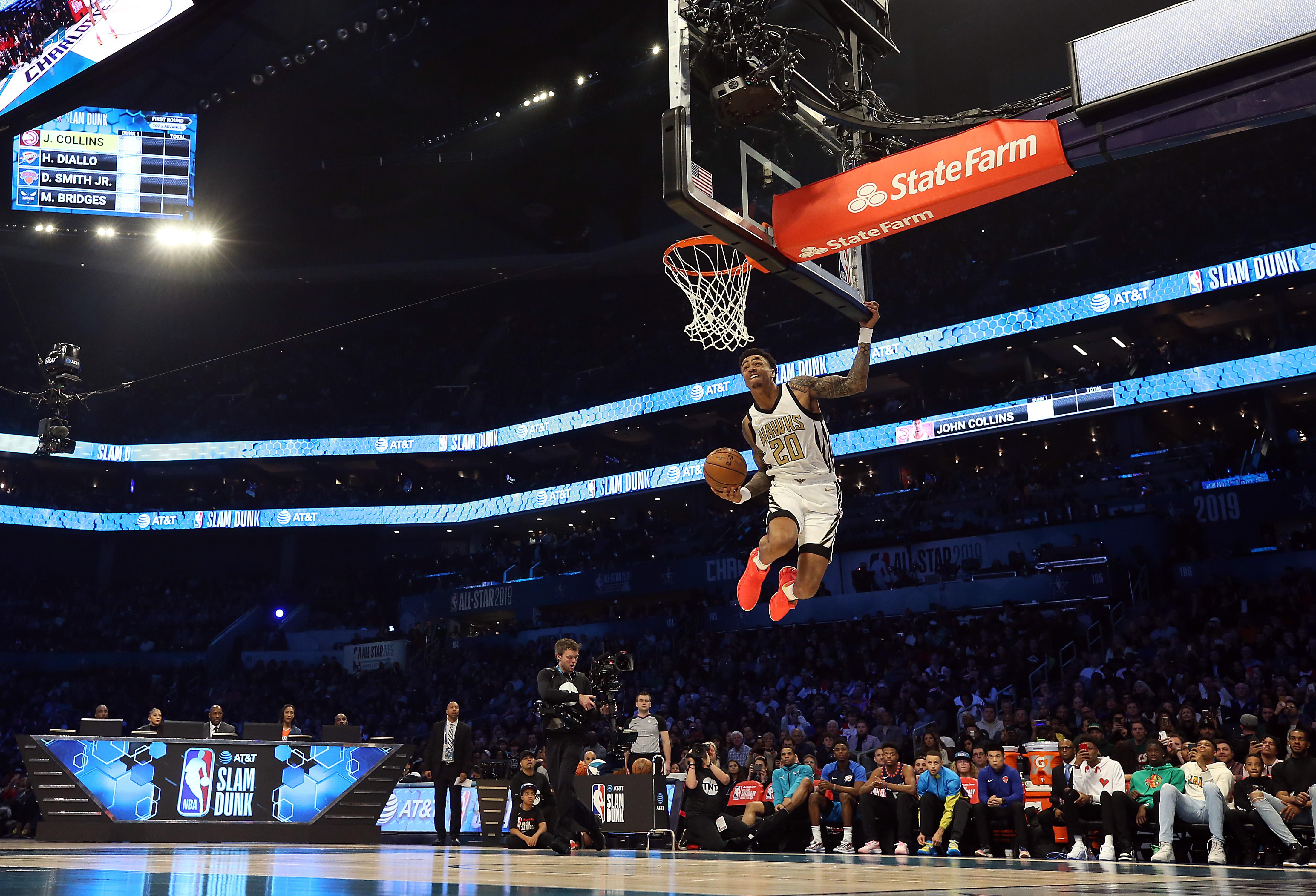 Atlanta Hawk John Collins dunks during All-Star Weekend