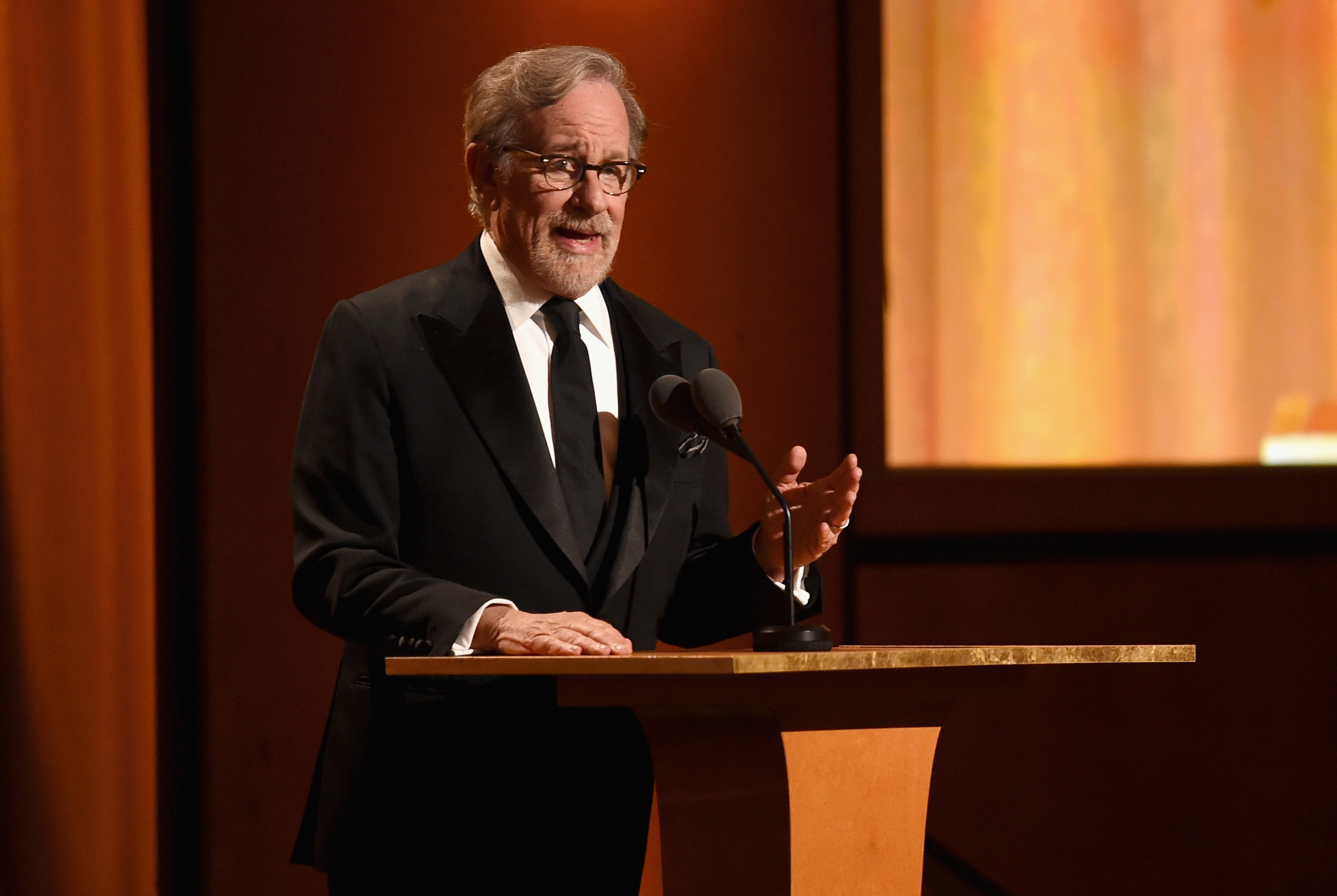 Steven Spielberg speaks at Academy Of Motion Picture Arts And Sciences' 10th Annual Governors Awards