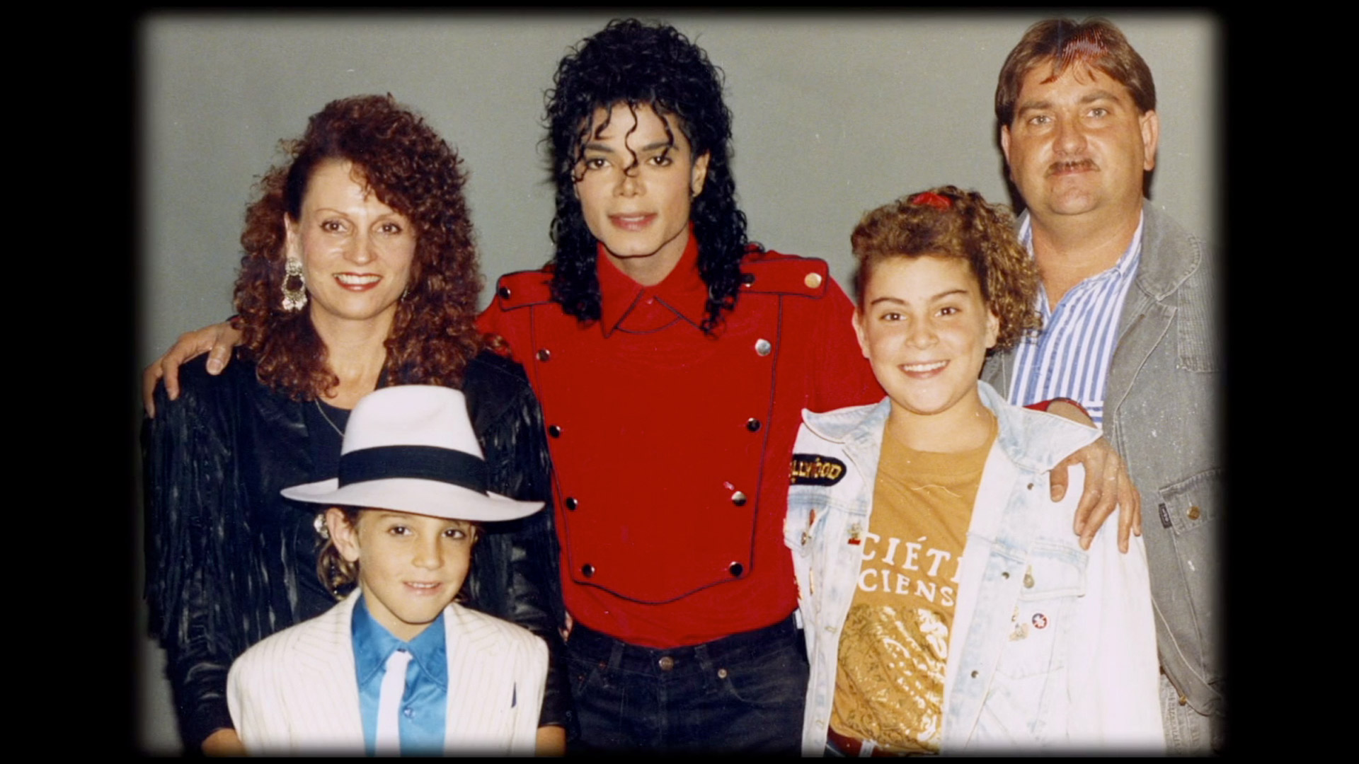 The Robson family, as seen in HBO's Leaving Neverland, with Michael Jackson.