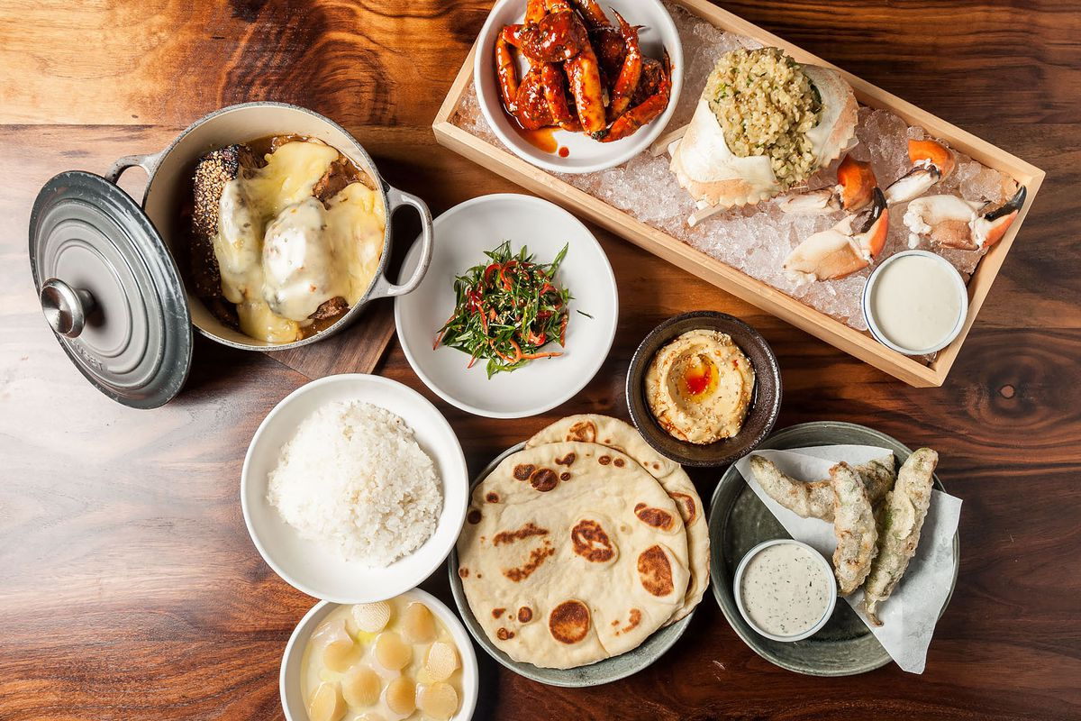 An array of dishes at Majordomo