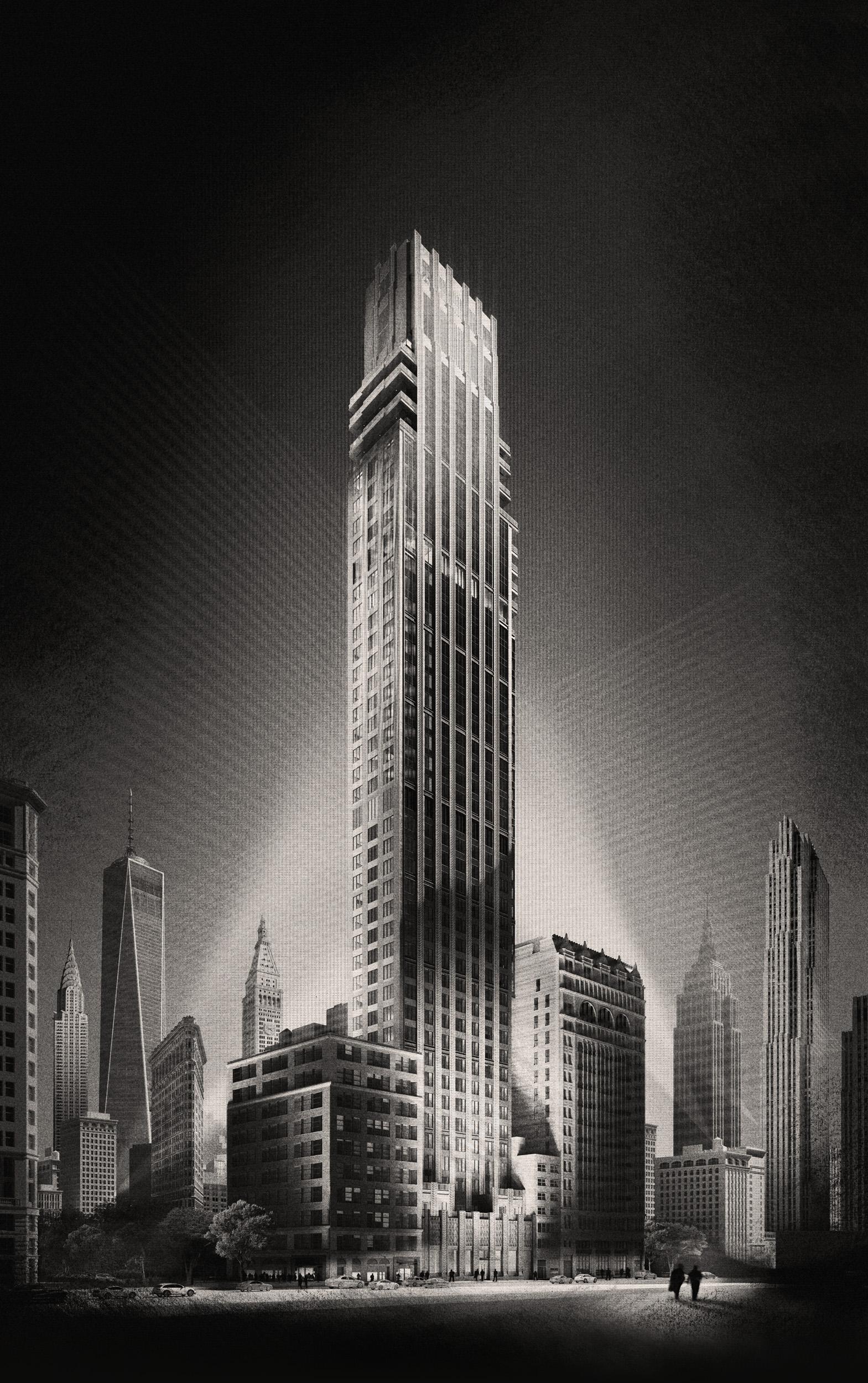 A tall skyscraper.