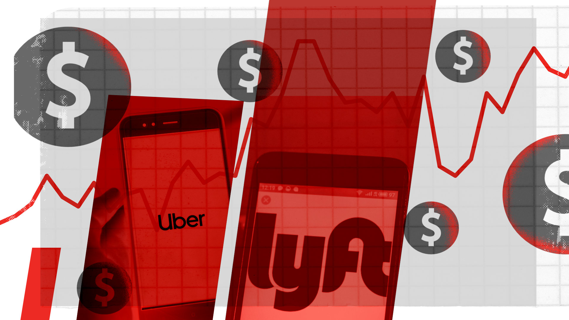 An illustration of two cellphone screen, one showing Uber, the other Lyft.