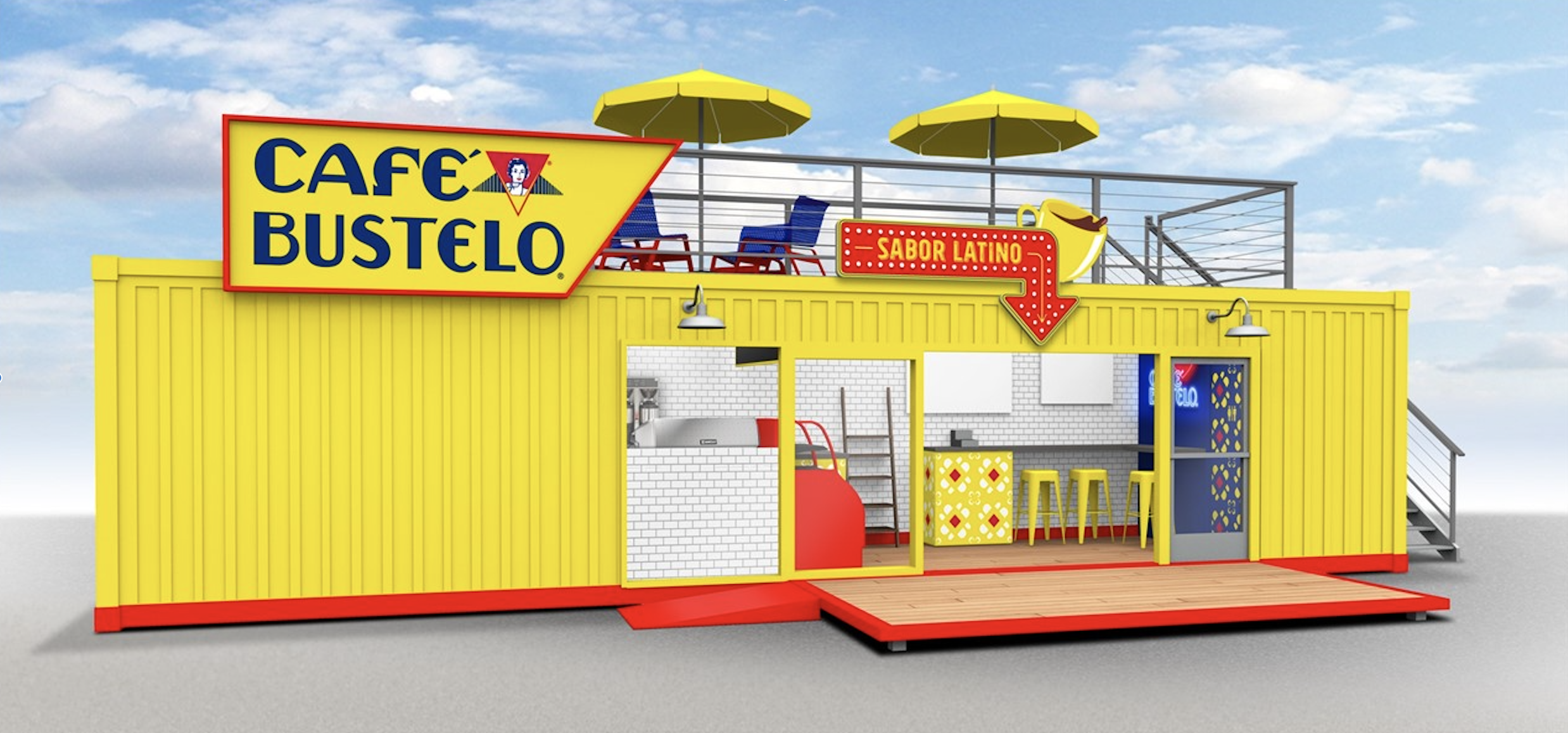 Café Bustelo Turned a Shipping Container Into a Coffee Shop for This Pop-Up