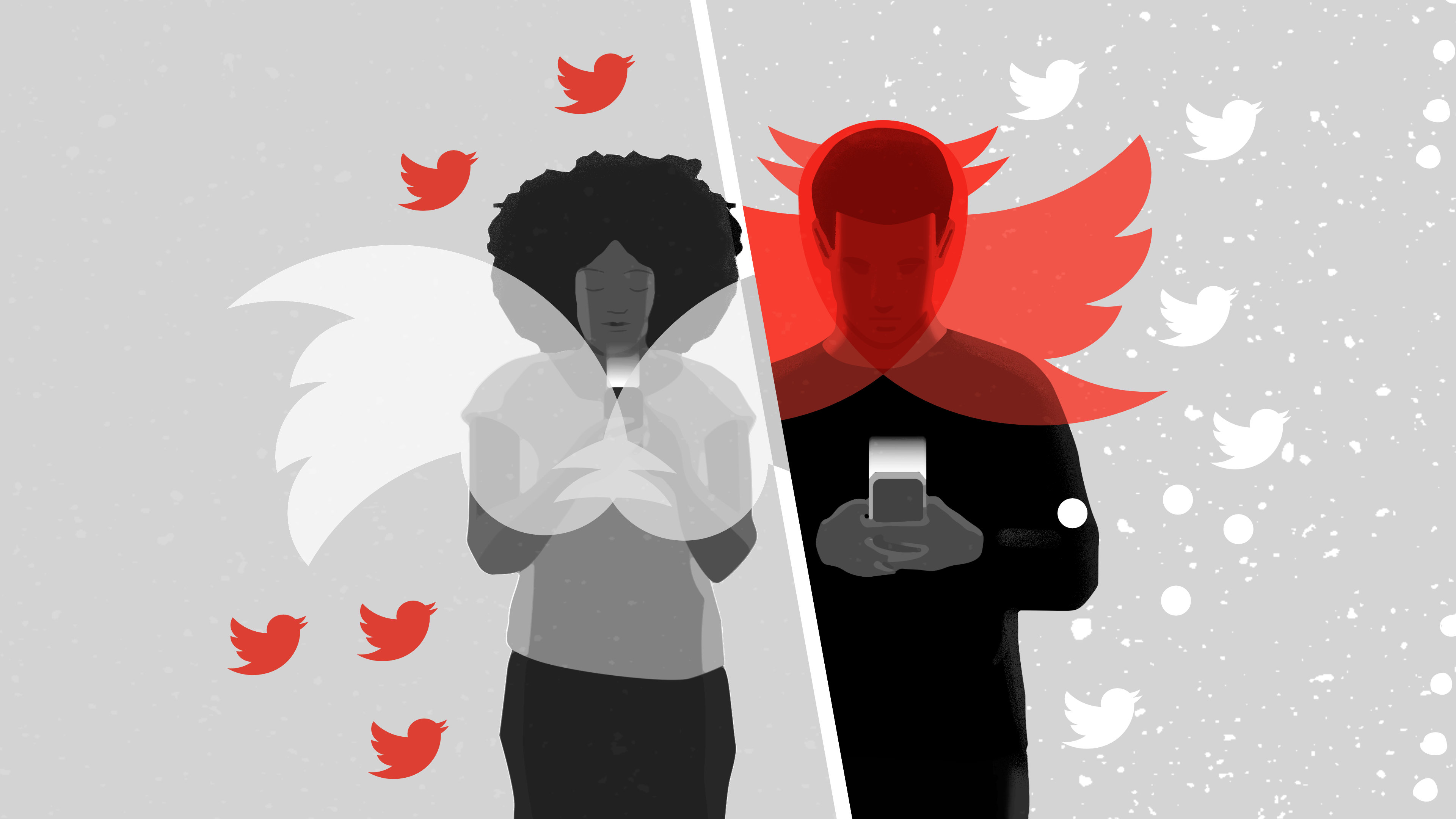 A person with angel wings and a person with devil wings using smartphones.