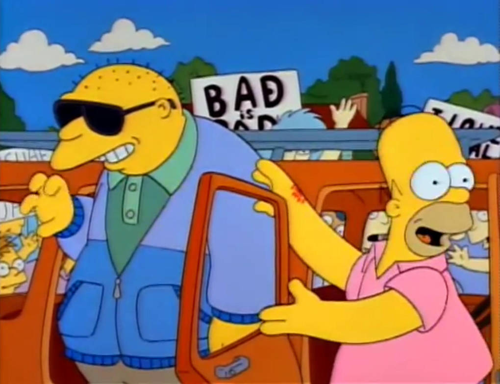 'Michael Jackson' and Homer Simpson in the 'Stark Raving Dad' episode of The Simpsons